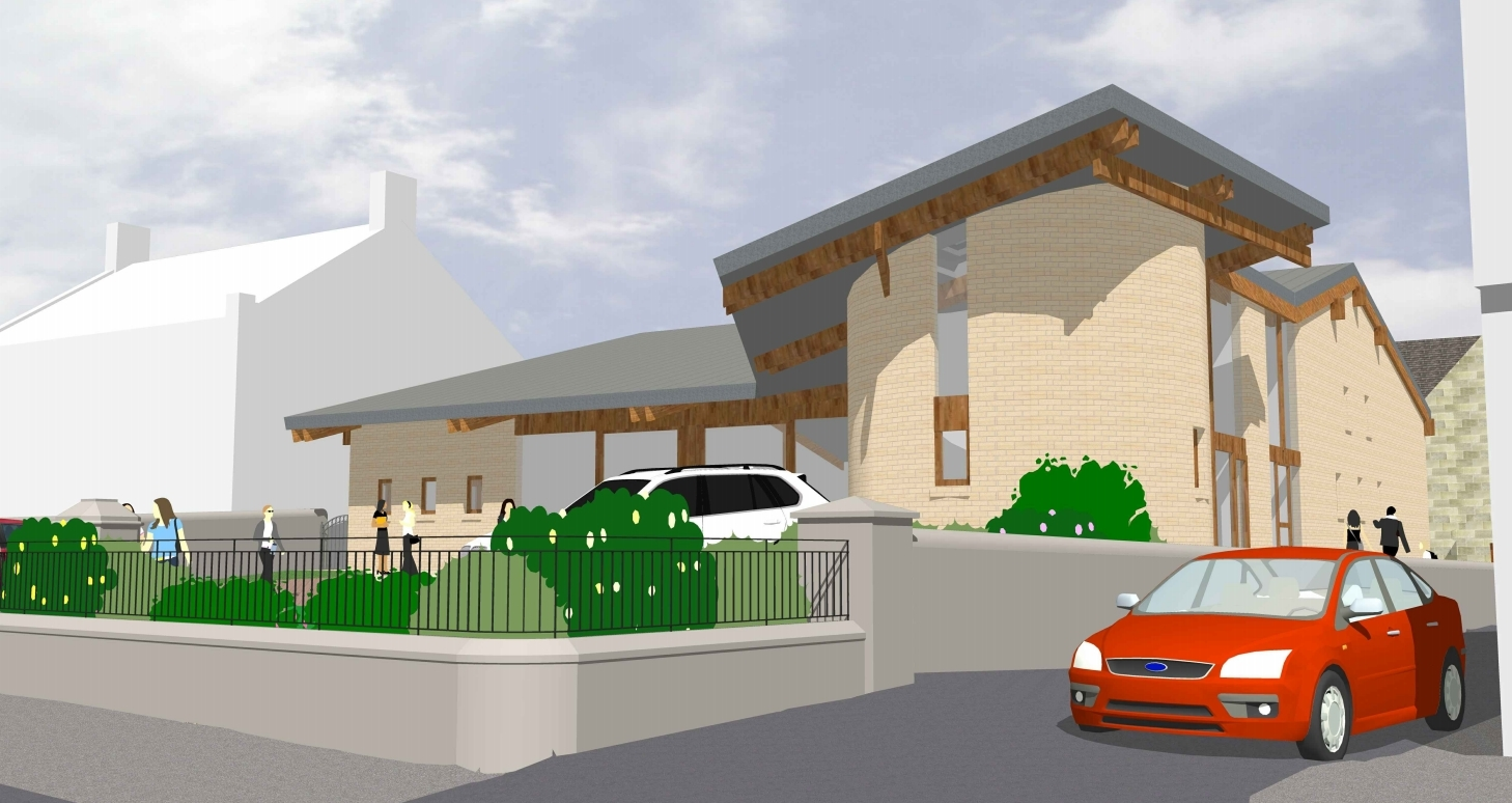 How the church might look from the middle of West High Street