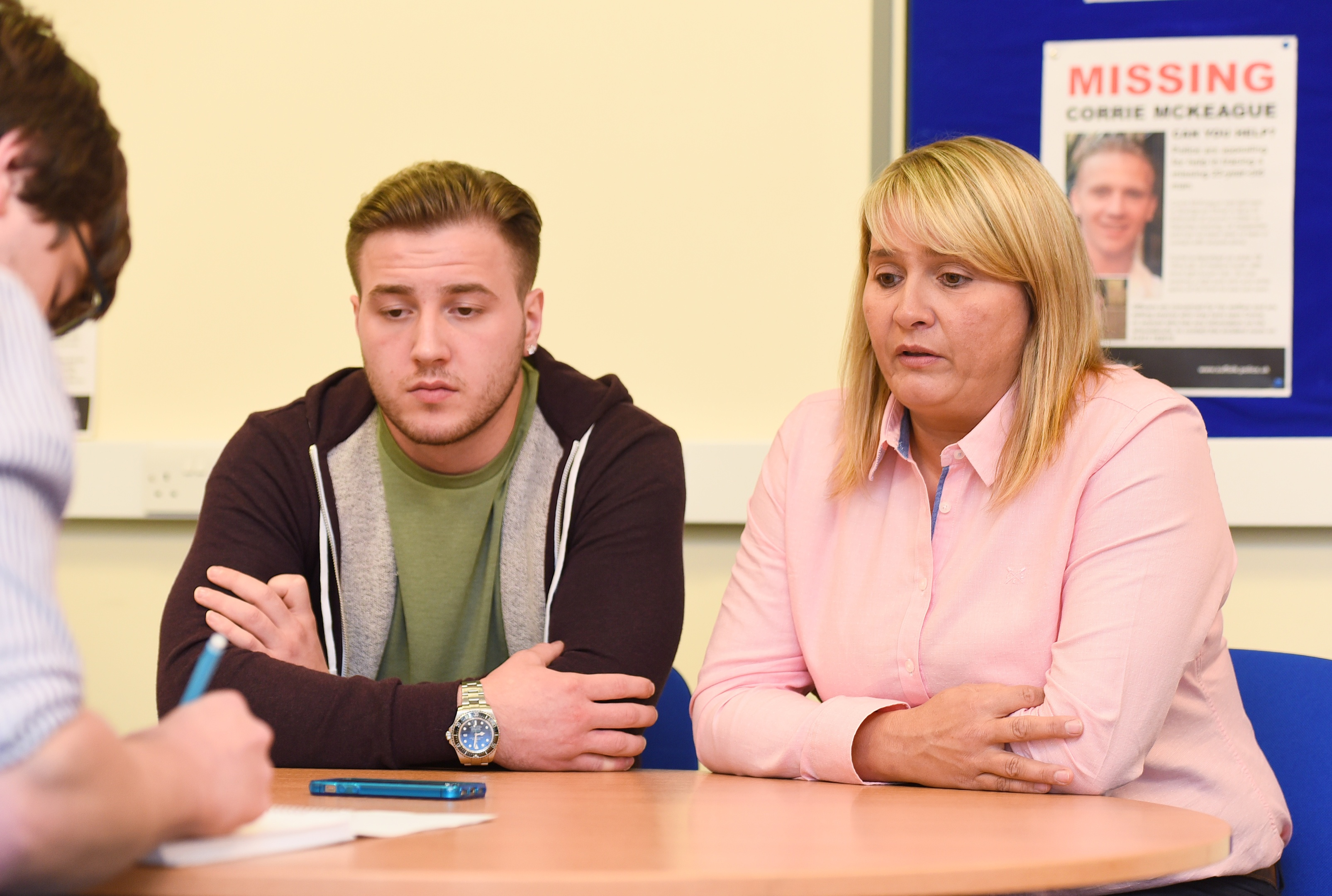Corrie's brother Darroch McKeague and mother Nicola Urquhart pictured at the start of the investigation.