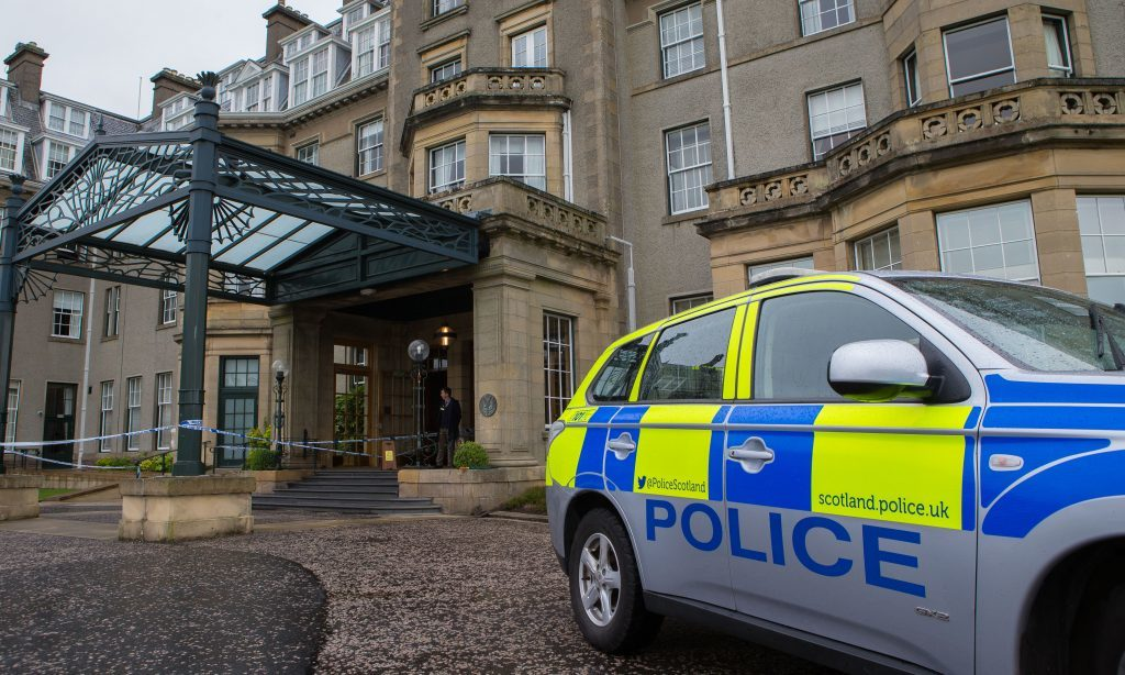 Police at the entrance to Gleneagles Hotel