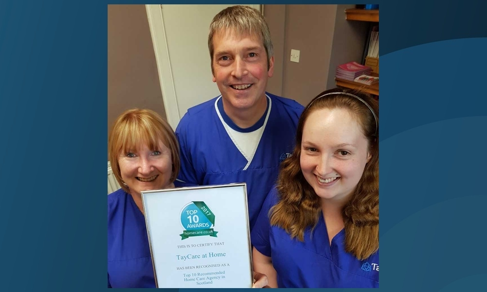 Kath Kenny, Stephen Buchan and Rhea Webster from TayCare at Home.