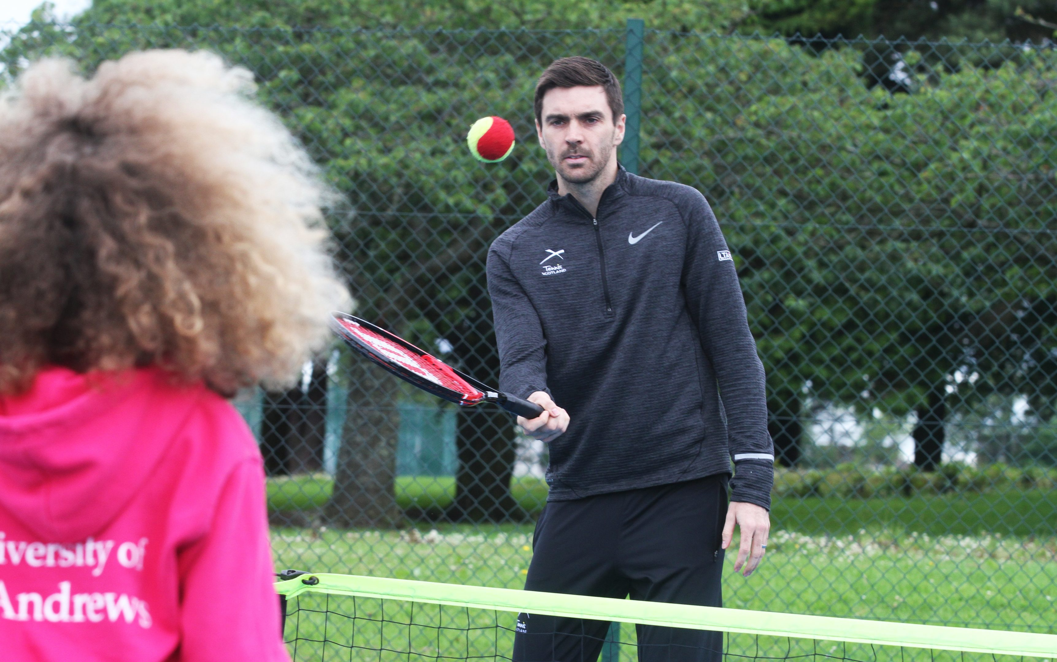 Colin Fleming gives some tennis tips at Dundee's Dawson Park.