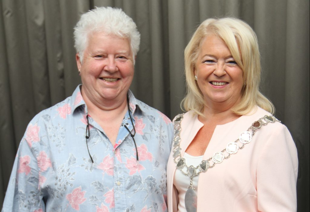 Val Mcdermid with president of CILIPS Liz McGettigan.