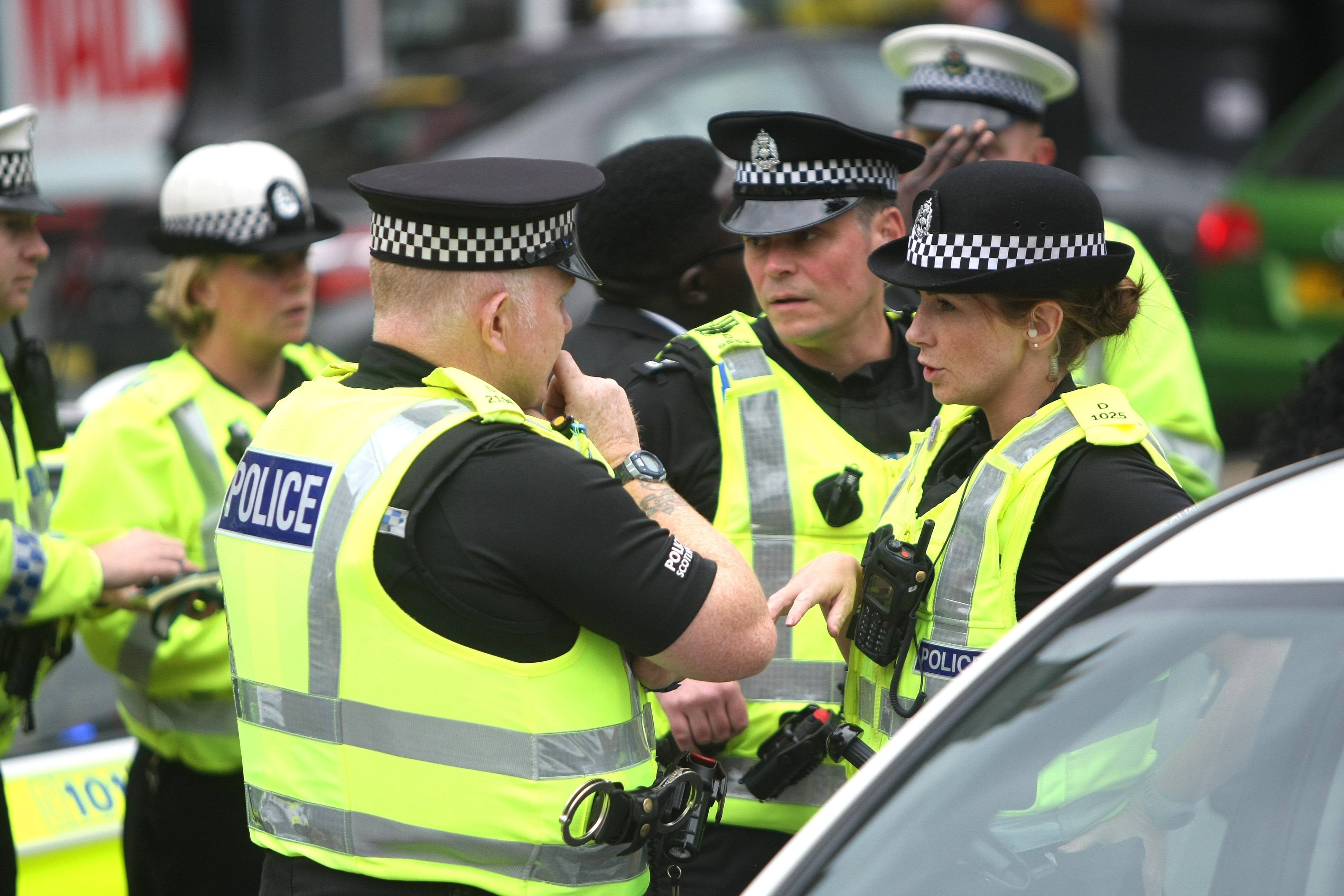 Police Scotland officers at the scene of the alleged incident on Thursday evening.