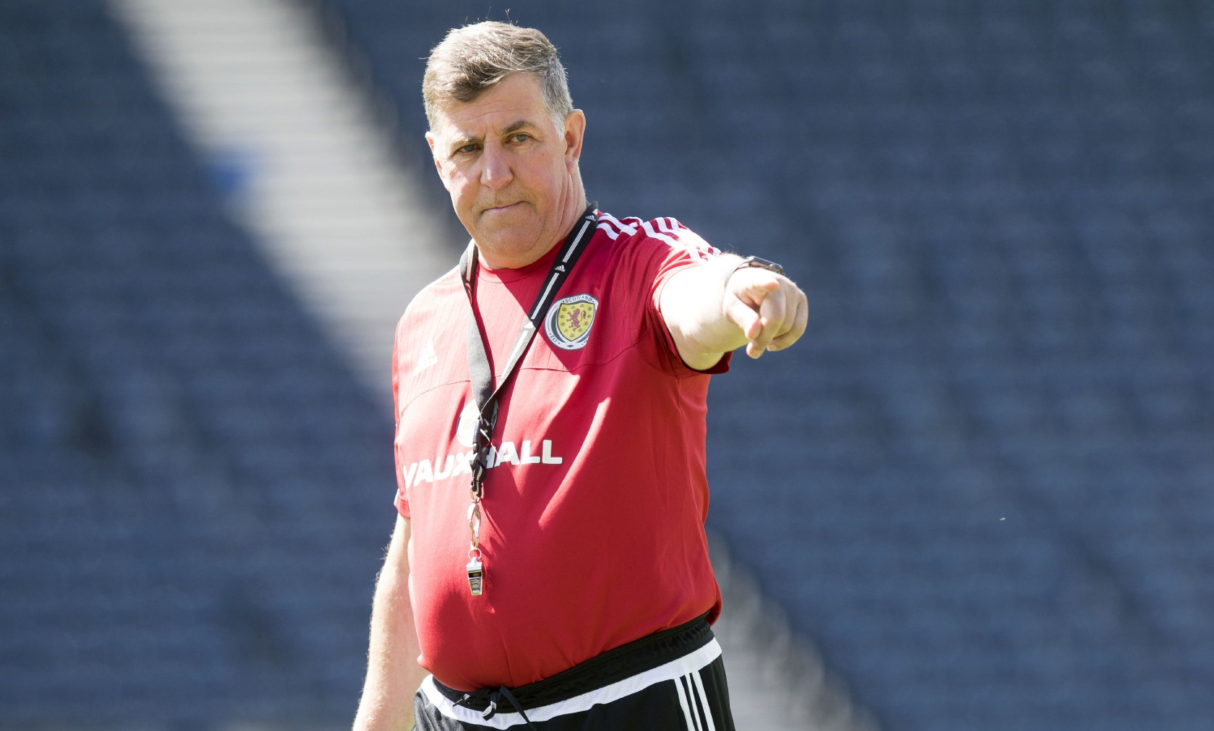 Mark McGhee during training at Hampden.