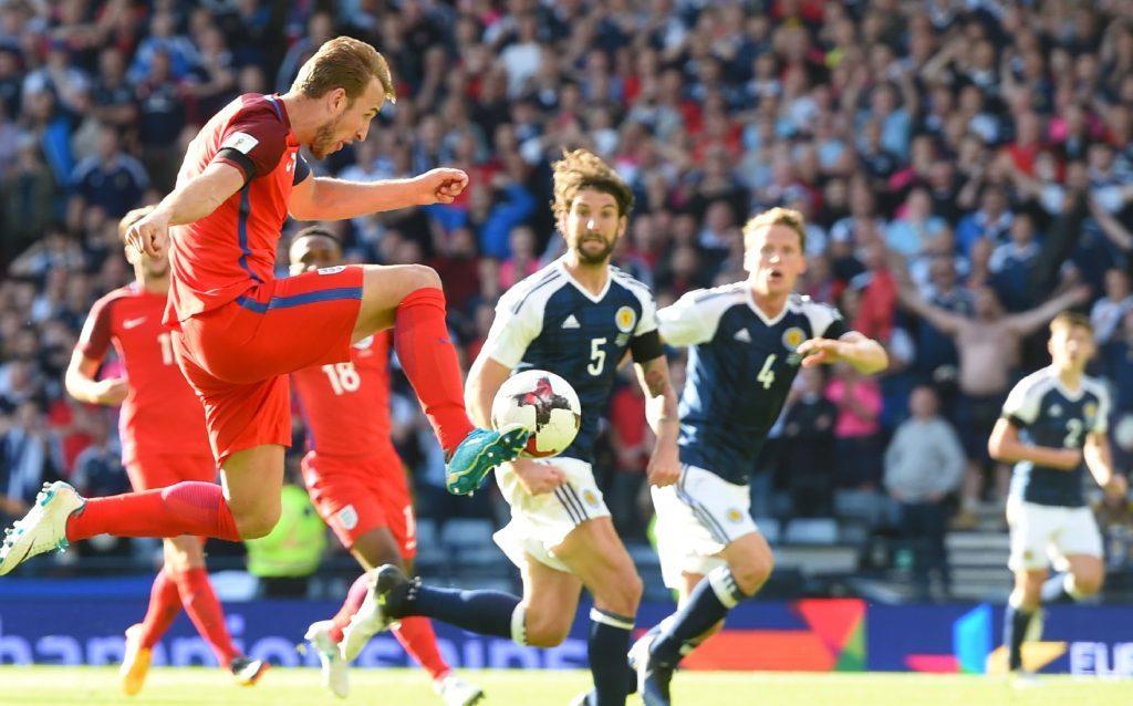 10/06/17 WORLD CUP QUALIFIER   SCOTLAND V ENGLAND  HAMPDEN PARK - GLASGOW  England's Harry Kane volleys home the late equaliser