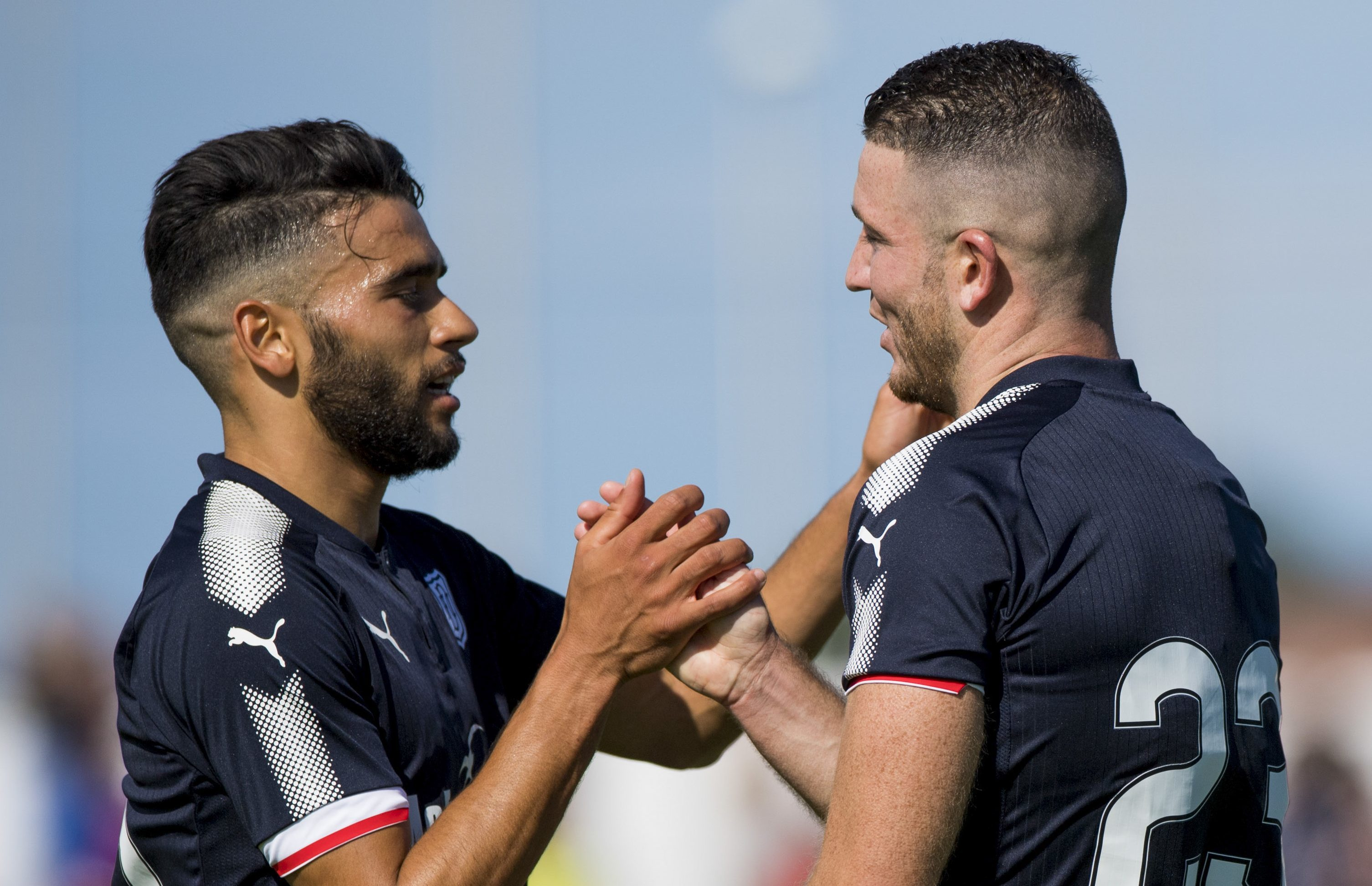 Dundee's Faisal El Bakhtaoui celebrates his goal with Randy Wolters.