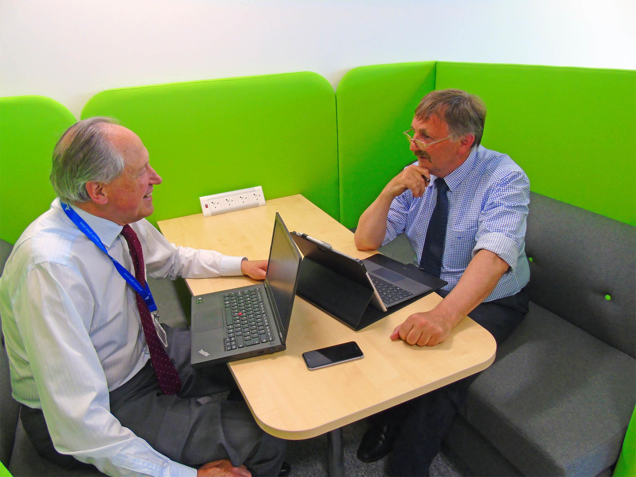 Angus Council finance convener Angus Macmillan Douglas (left) and council leader Bob Myles. discuss the challenges ahead