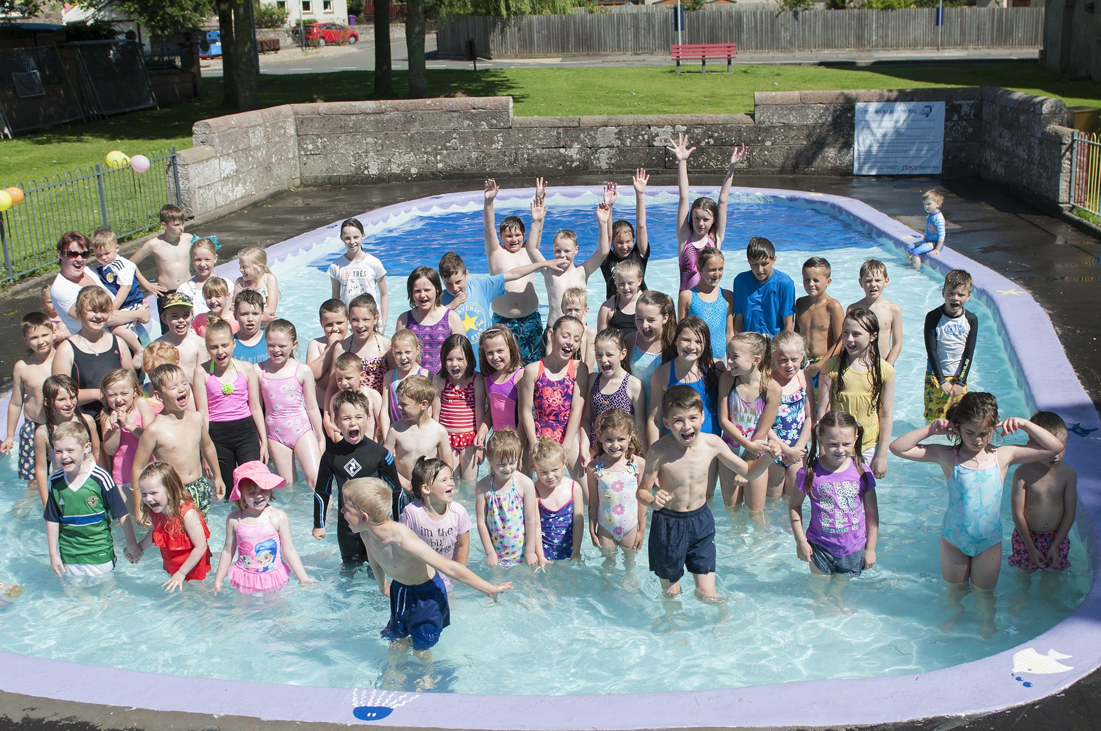 Kids at the rejuvenated pool
