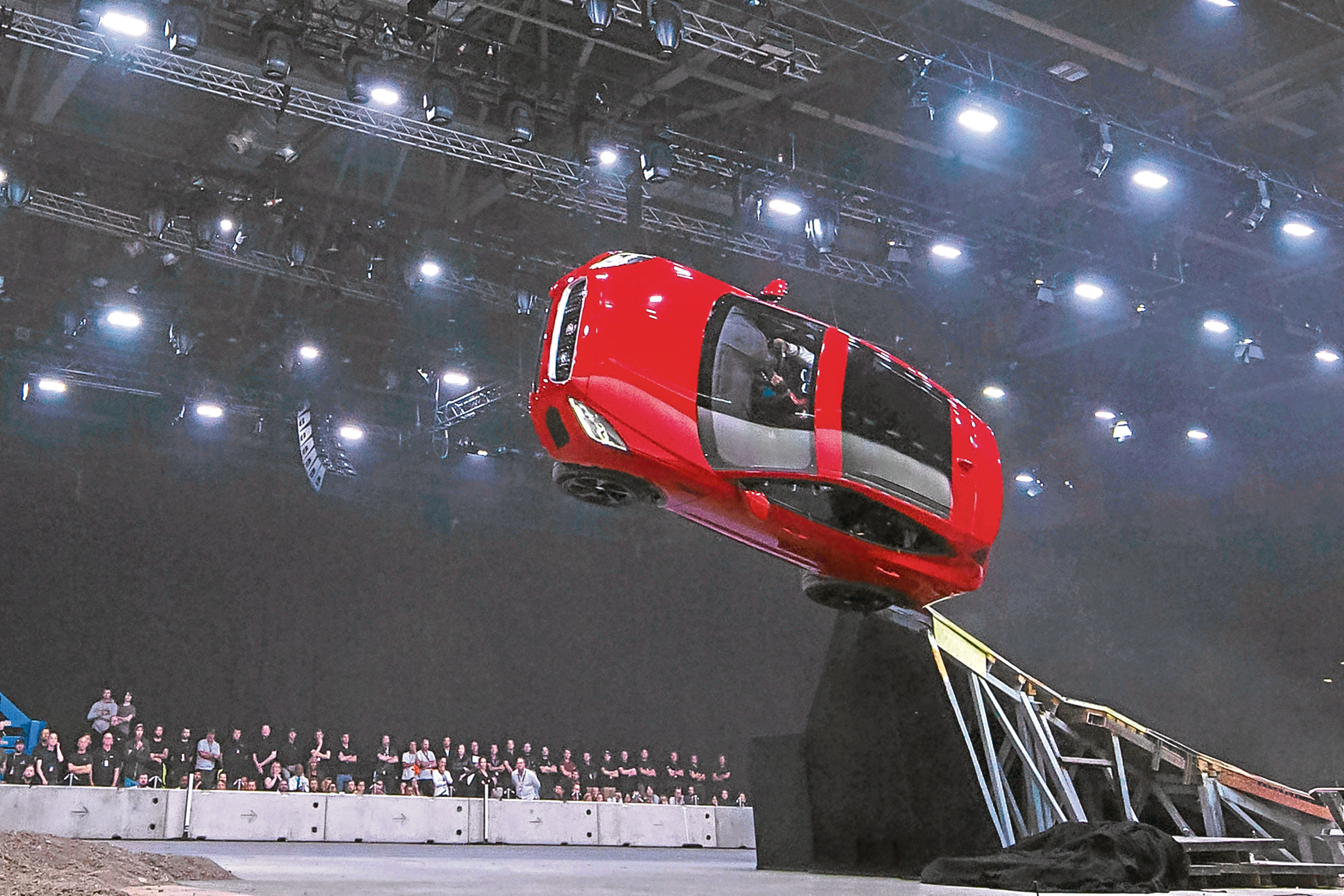 NOTE: IMAGE STRICTLY EMBARGOED UNTIL 20.00 BST, JULY 13th 2017. NO ONLINE USE PRIOR TO THIS TIME.Jaguar and stunt driver Terry Grant set a new Guinness World Record for longest barrel roll at the global launch of the new Jaguar E-PACE at ExCel London.