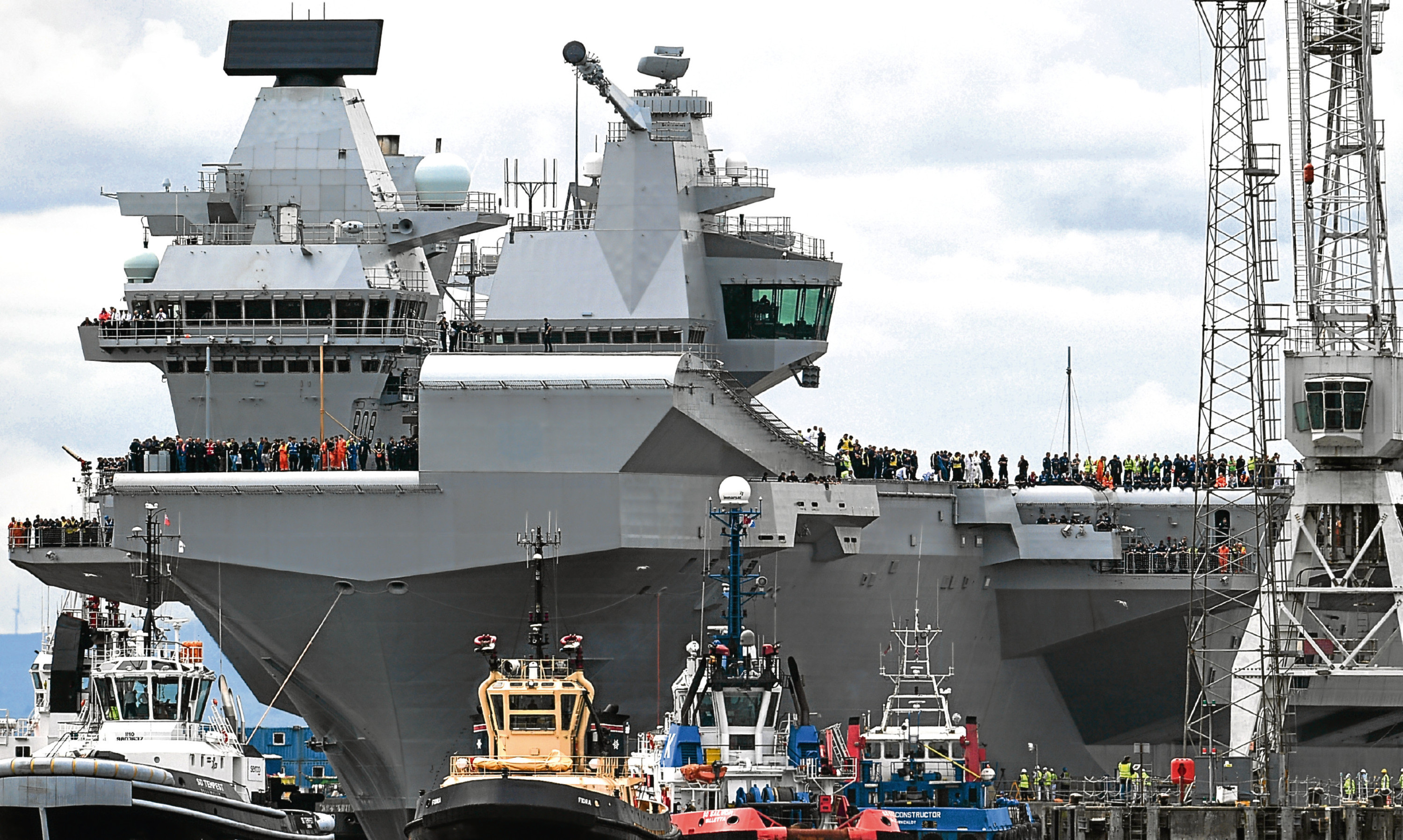 The Royal Navy aircraft carrier Queen Elizabeth pictured at Rosyth.