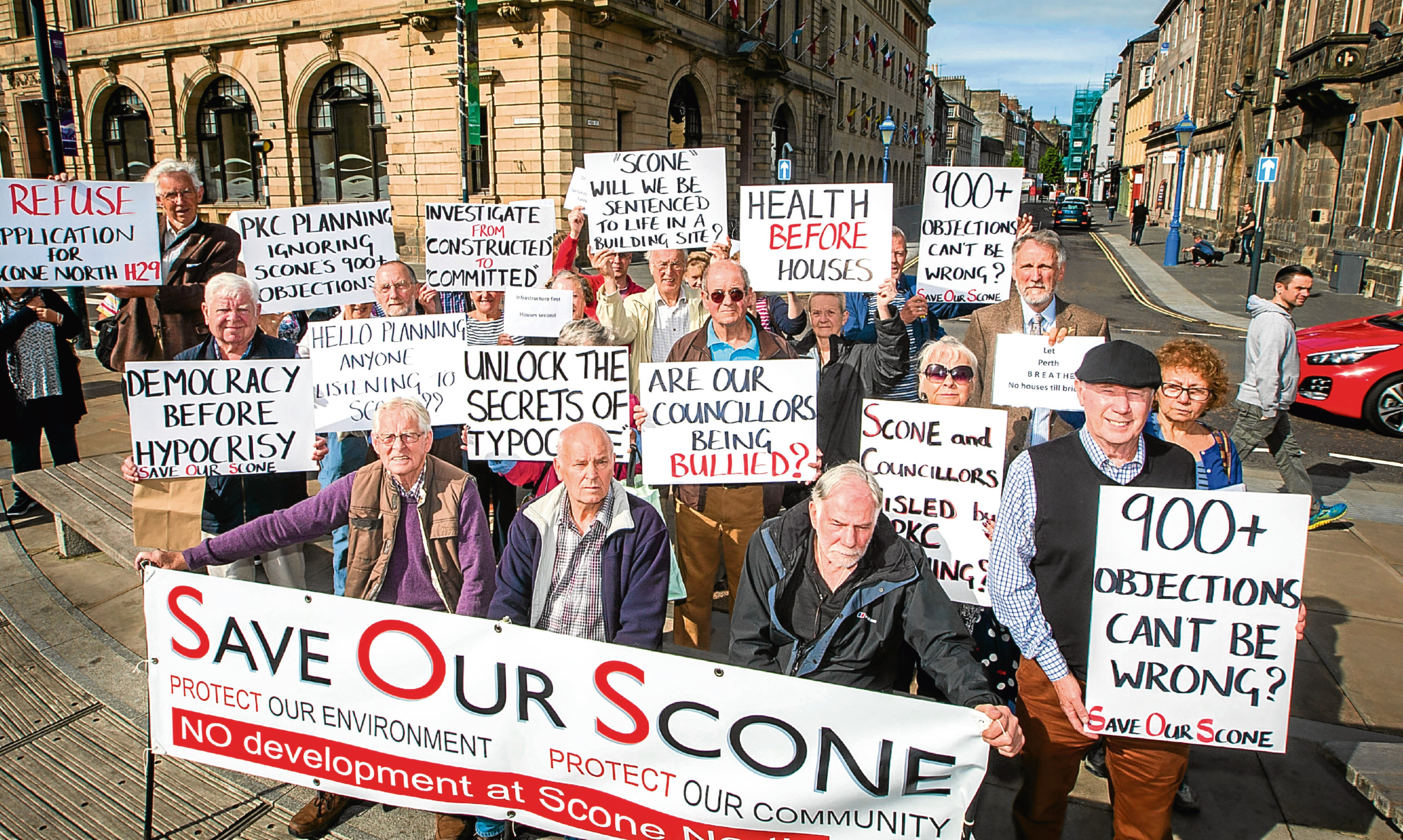 A protest against proposed development in Scone at Perth and Kinross Council headquarters, High Street, Perth.