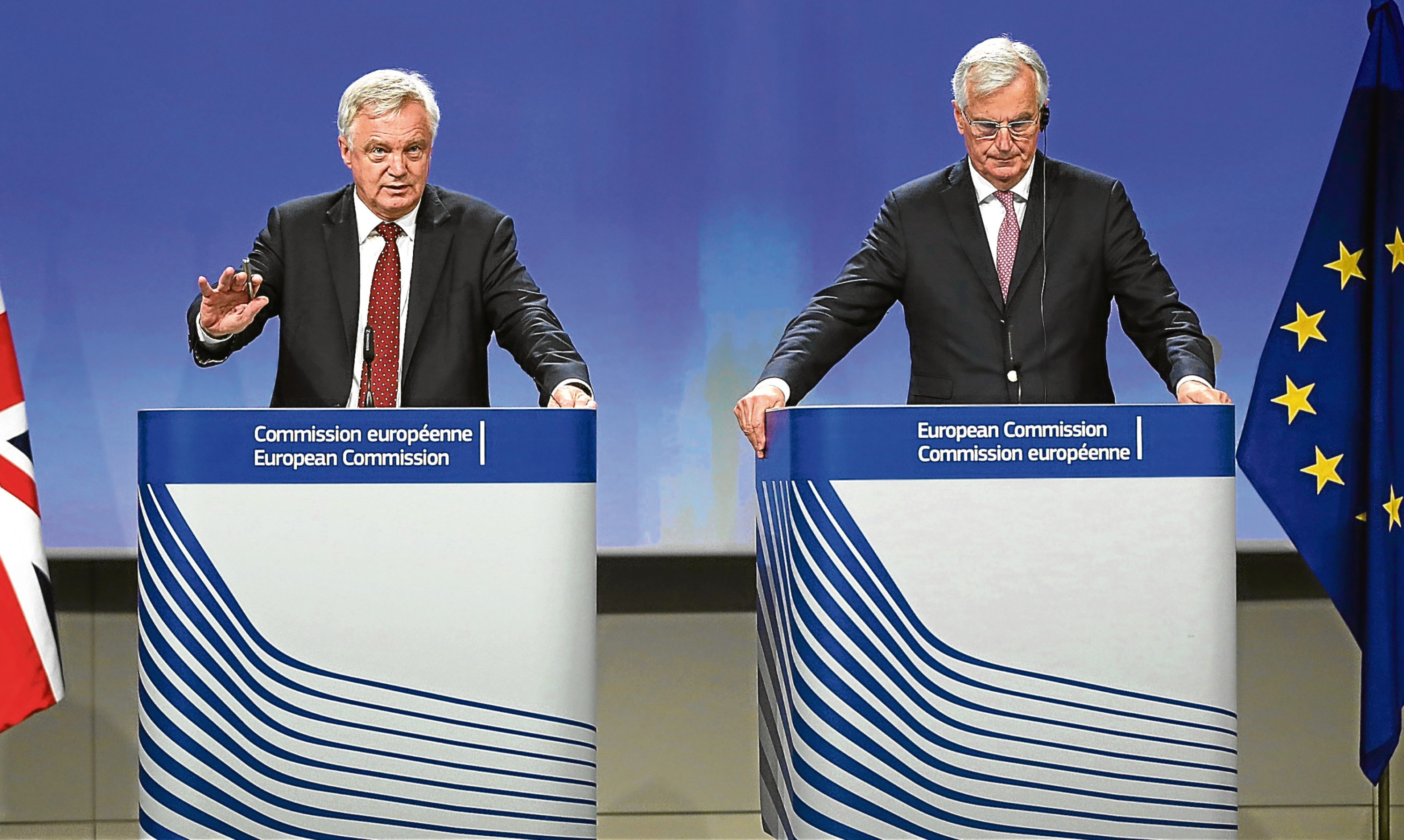 Brexit secretary David Davis and EU chief negotiator Michel Barnier.