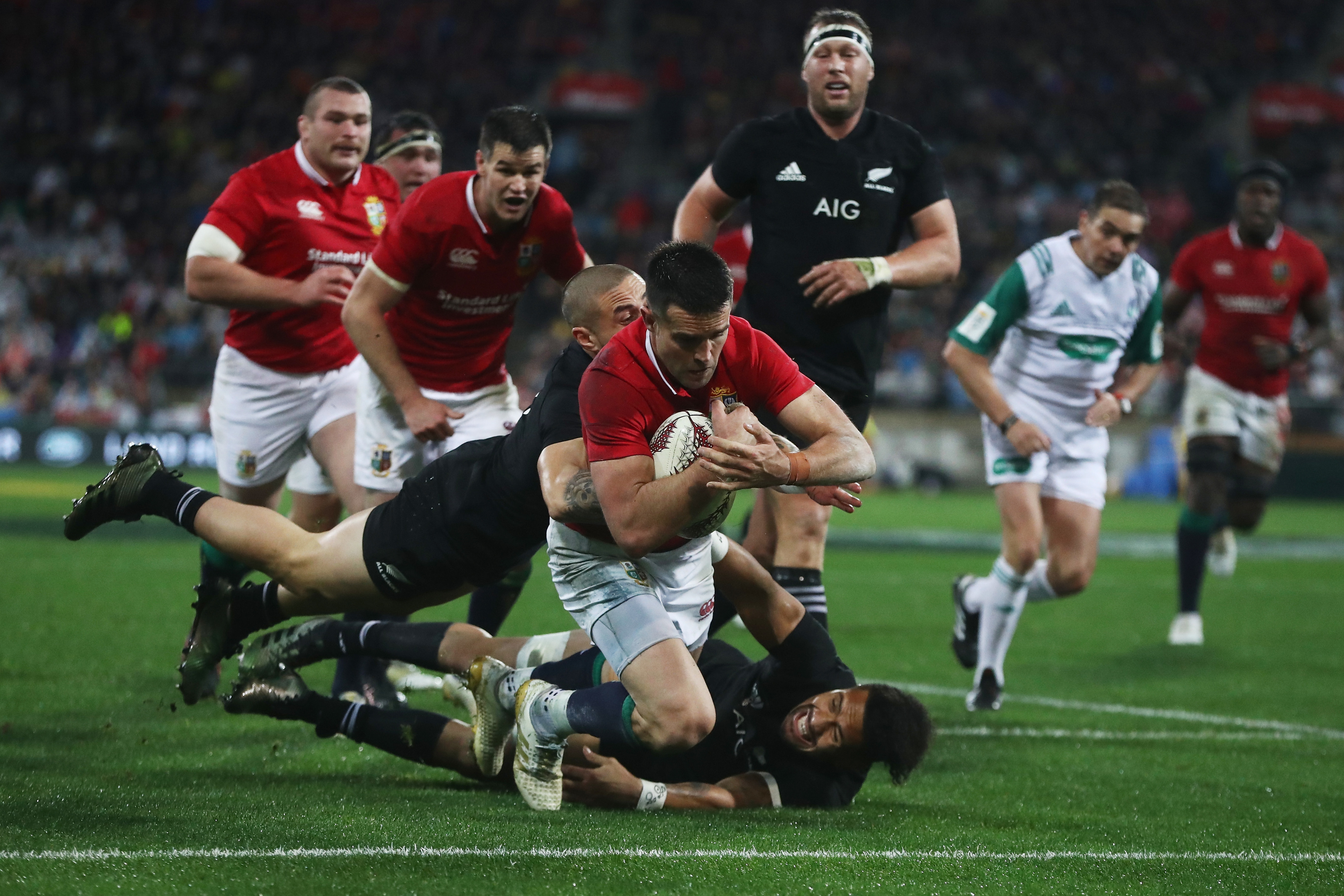 Conor Murray scores the Lions' key second try in their win over New Zealand in Wellington.