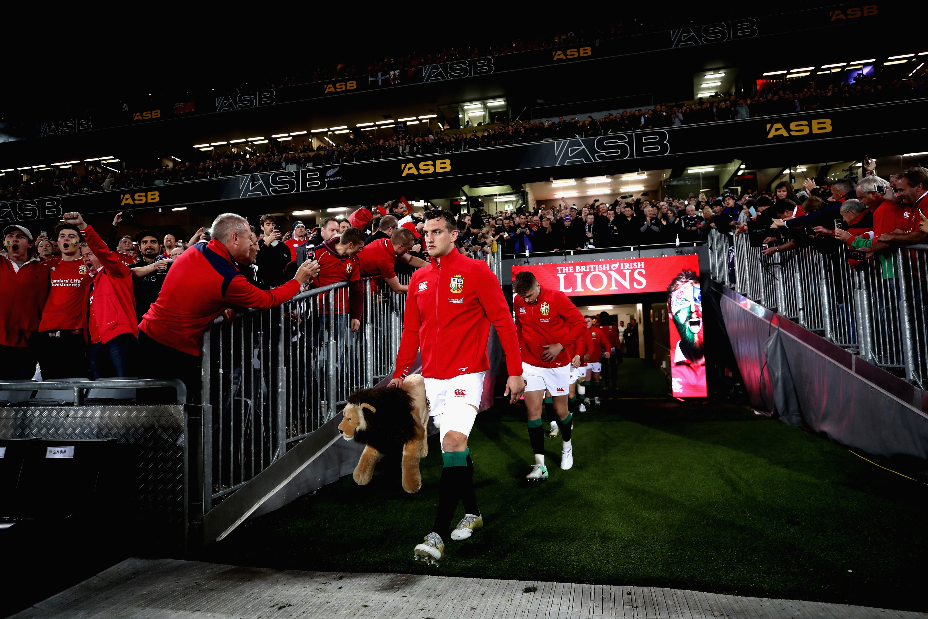 Sam Warburton leads the Lions out for the third test in Auckland.