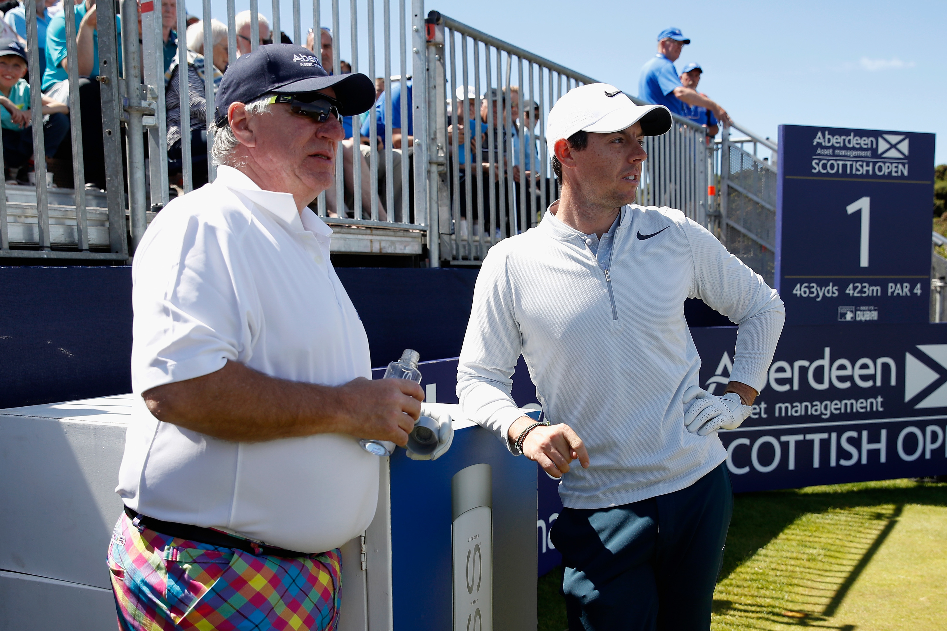 Martin Gilbert,  chief executive of Aberdeen Asset Management, with Rory McIlroy at Dundonald Links this week.