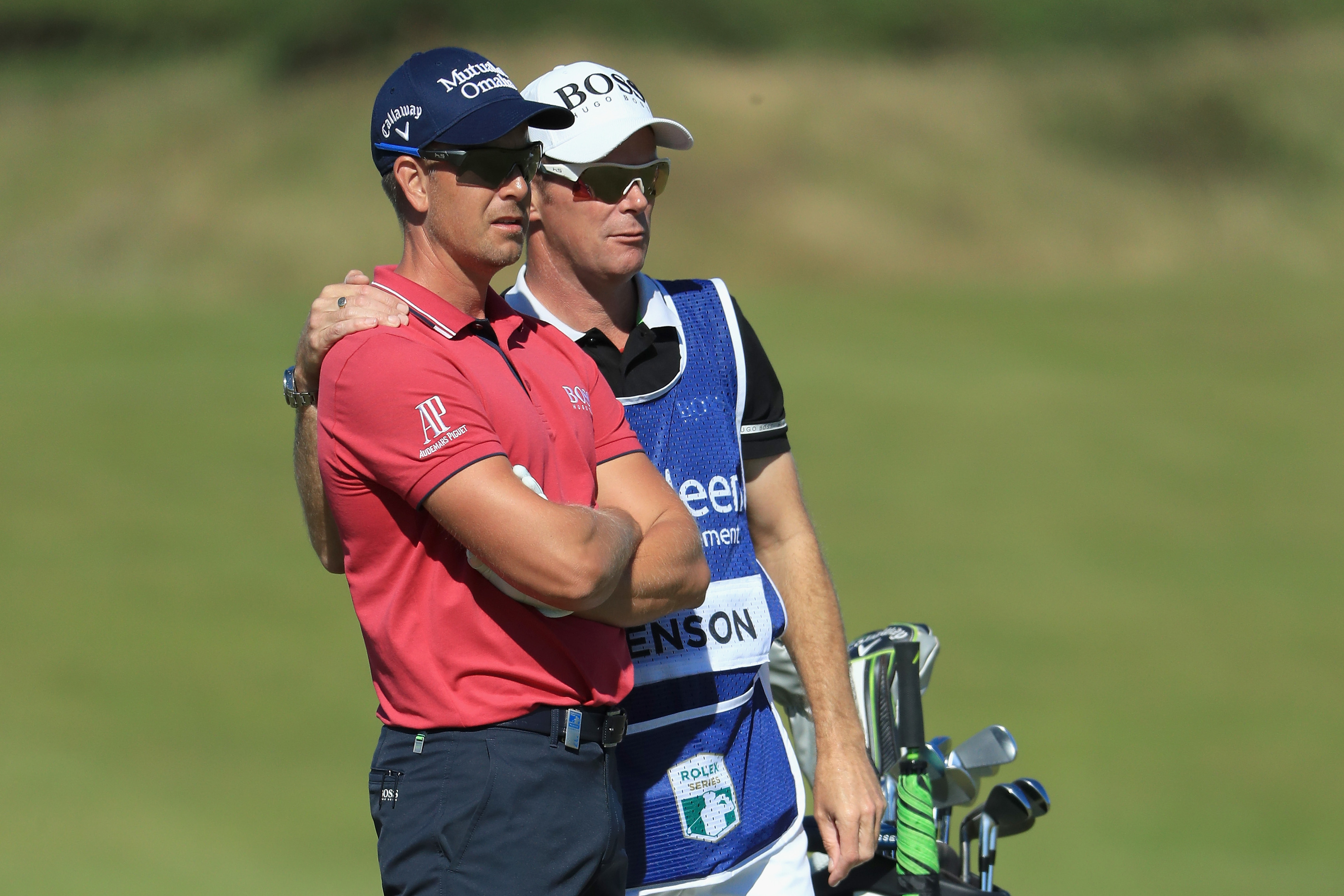 Henrik Stenson and caddie Gareth Lord during the Pro-Am at the Scottish Open.