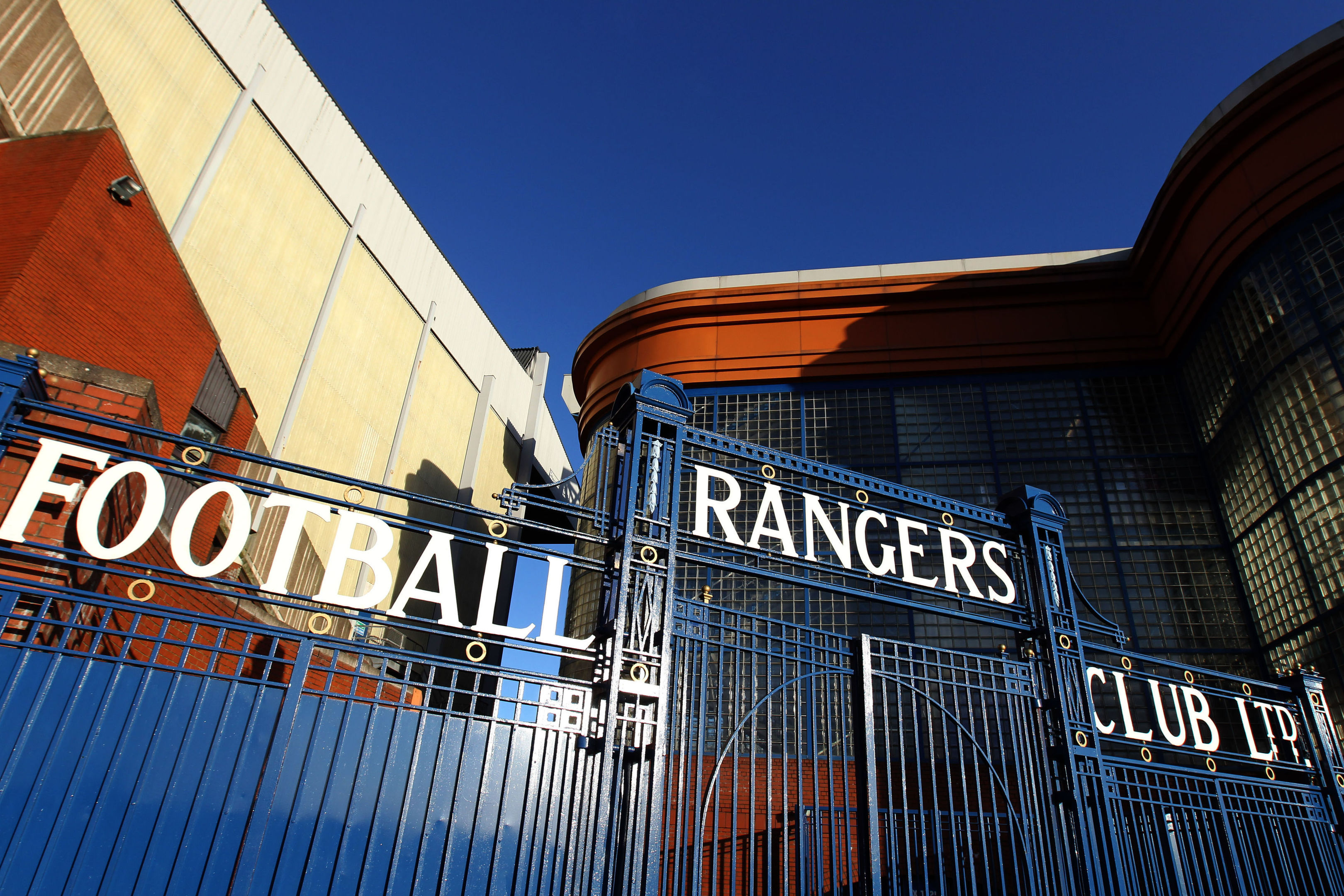 The gates at Rangers' Ibrox Stadium.
