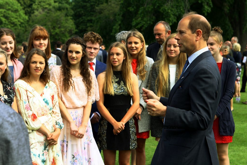 Prince Edward, the Earl of Wessex, chatting with some of the youngsters from Perth and Kinross.