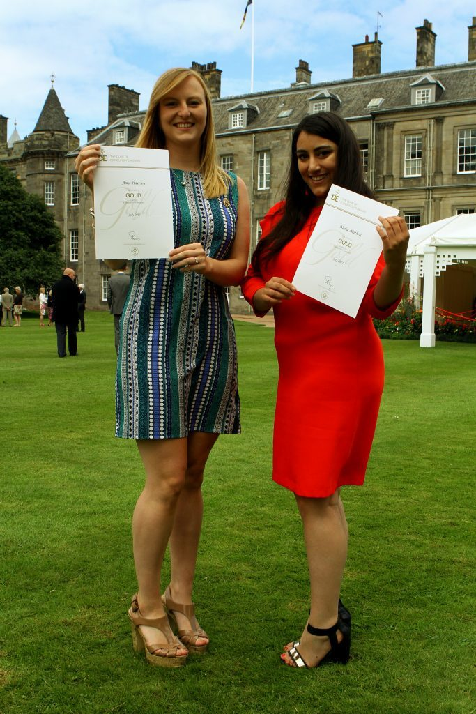 Amy Paterson, left, and Nadia Mathers both from Dundee, with their certificates.