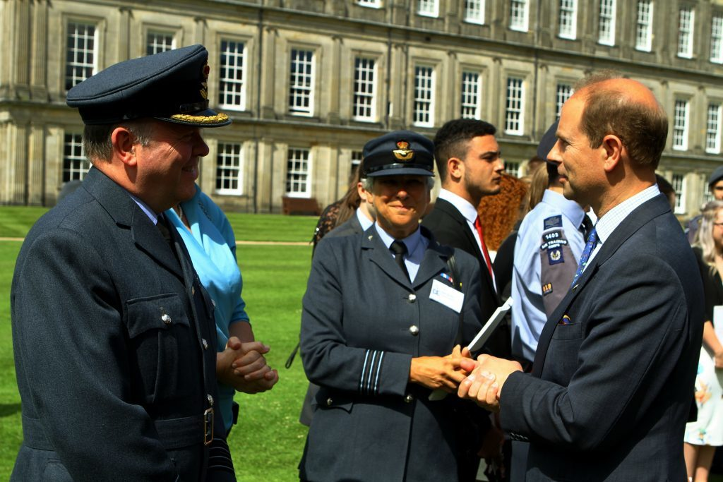 The Earl of Wessex, chatting with group capt. Jim Leggat from Fife.
