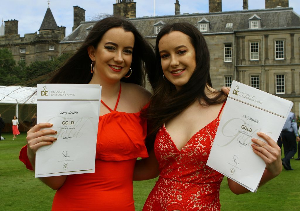 Twins Kerry Hendrie, left and Holly Hendrie from Woodmill High School in Dunfermline, with their certificates, at the Duke of Edinburgh Gold Award presentations.