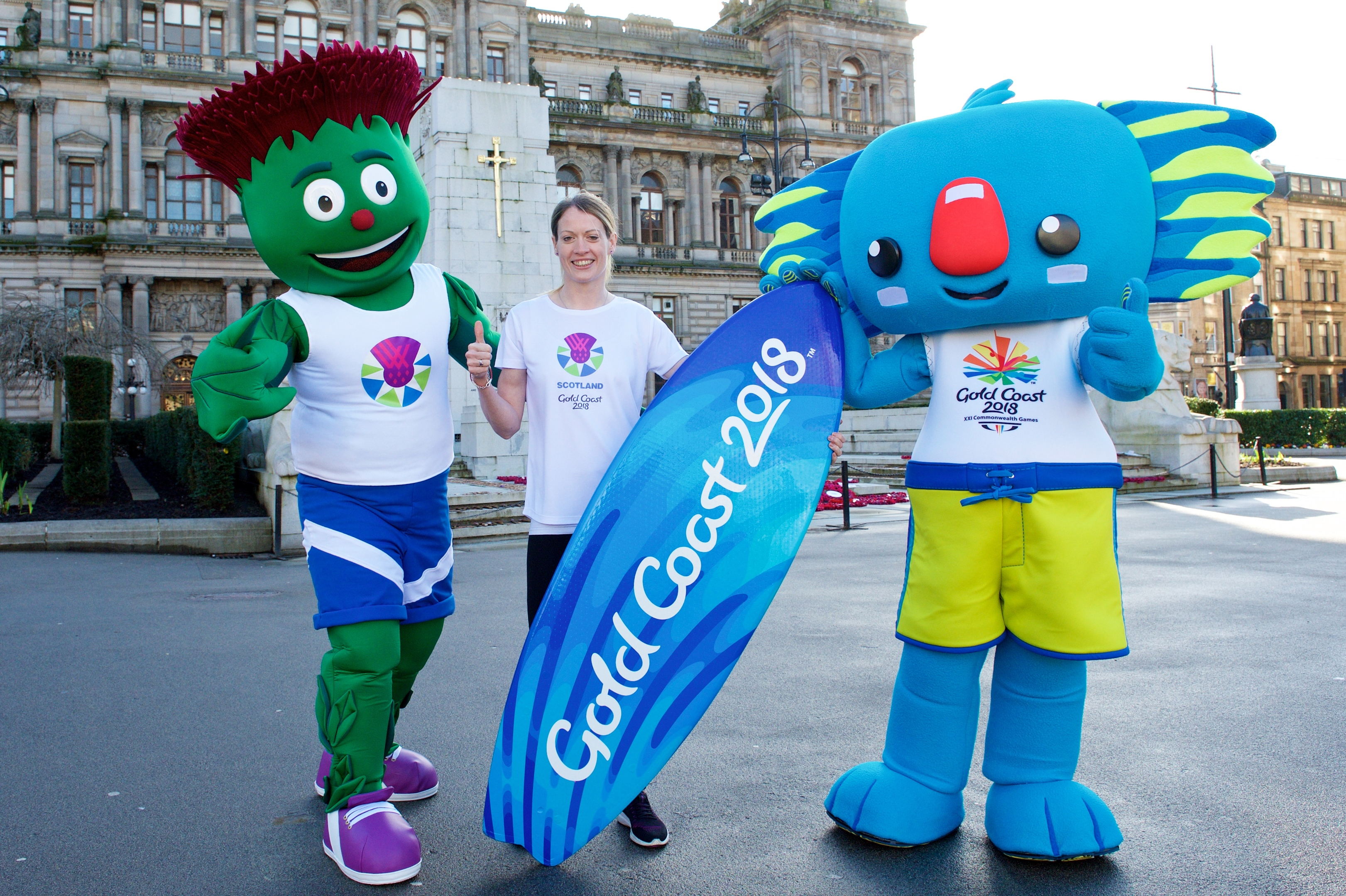 Scottish Olympian Eilidh Doyle with Glasgow 2014 Mascot Clyde and Gold Coast 2018 Mascot Borobi, in Glasgow