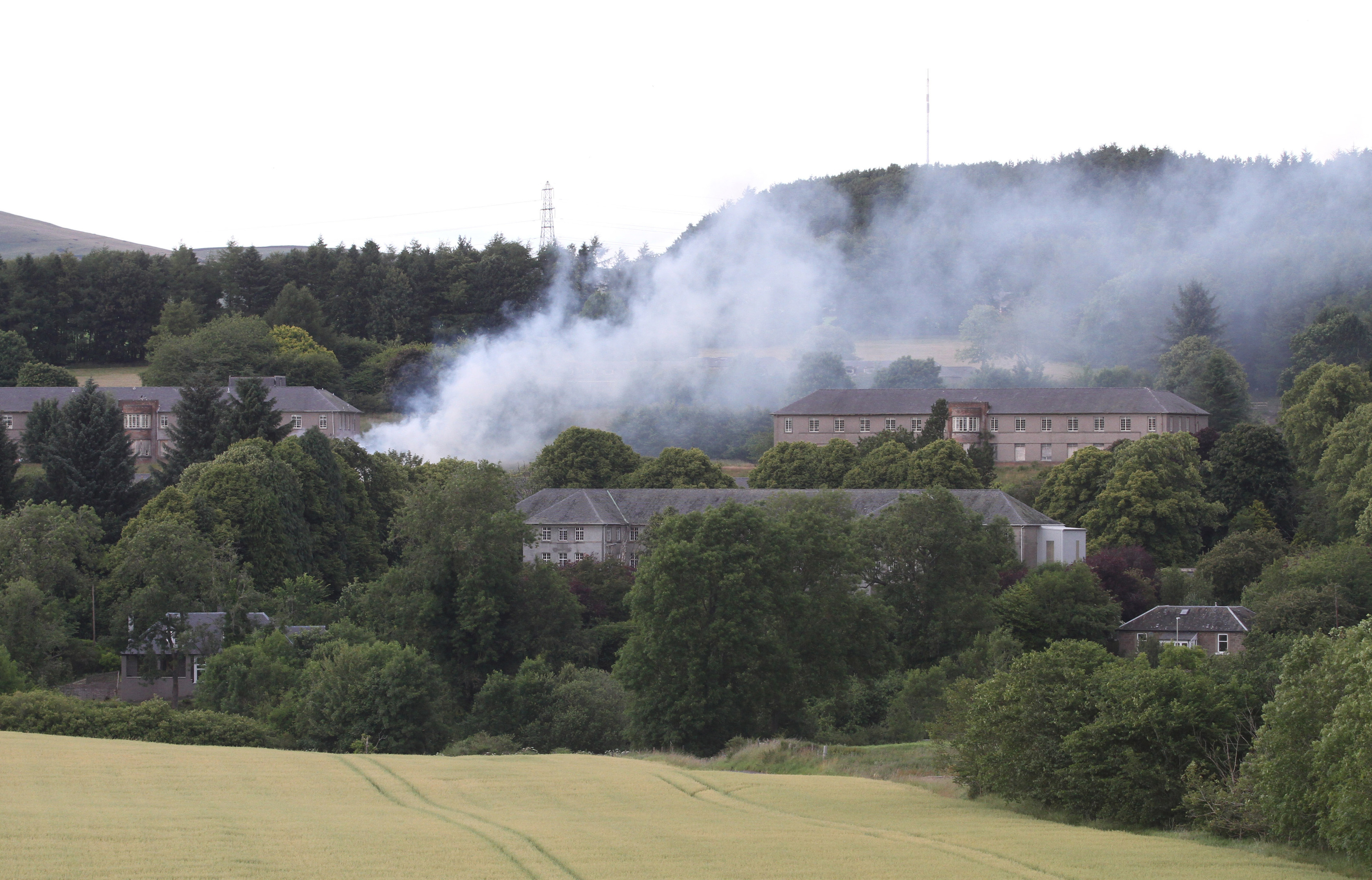 The fire at Strathmartine Hospital. Credit: Ron Cathro.