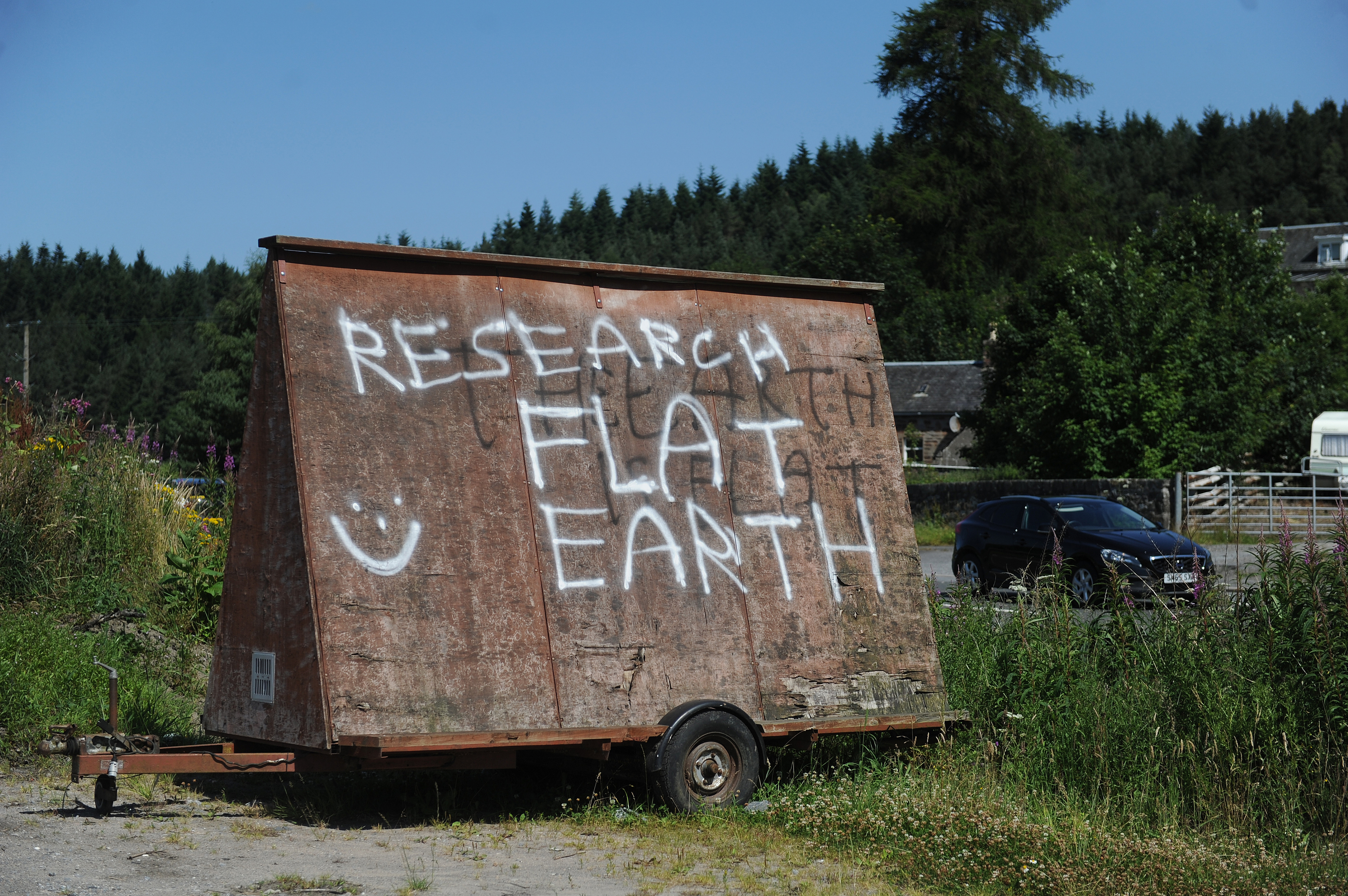 One of the Flat Earth signs on the A9.