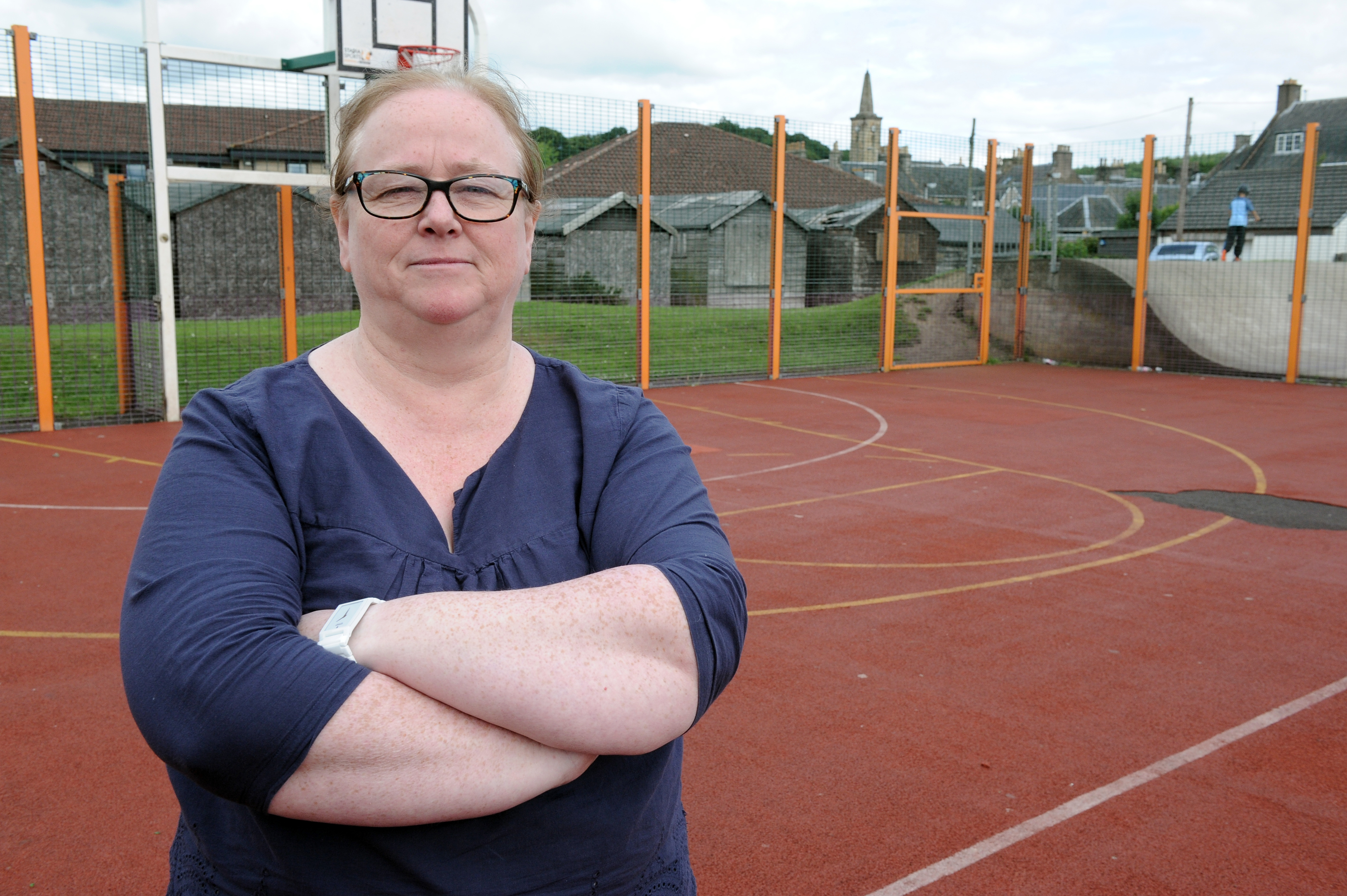 Angela High, Markinch Community Council chair, at  MUGA which has been vandalised last week.