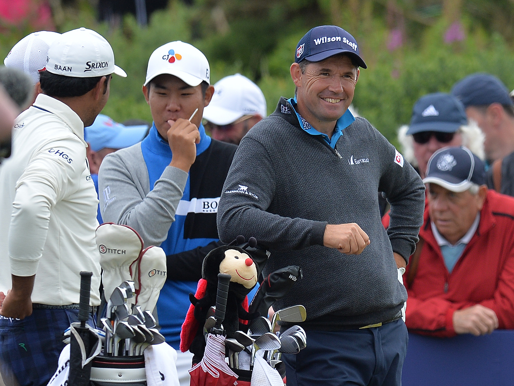 Padraig Harrington shares a joke at the 5th tee during day two of the 2017 Aberdeen Asset Management Scottish Open.