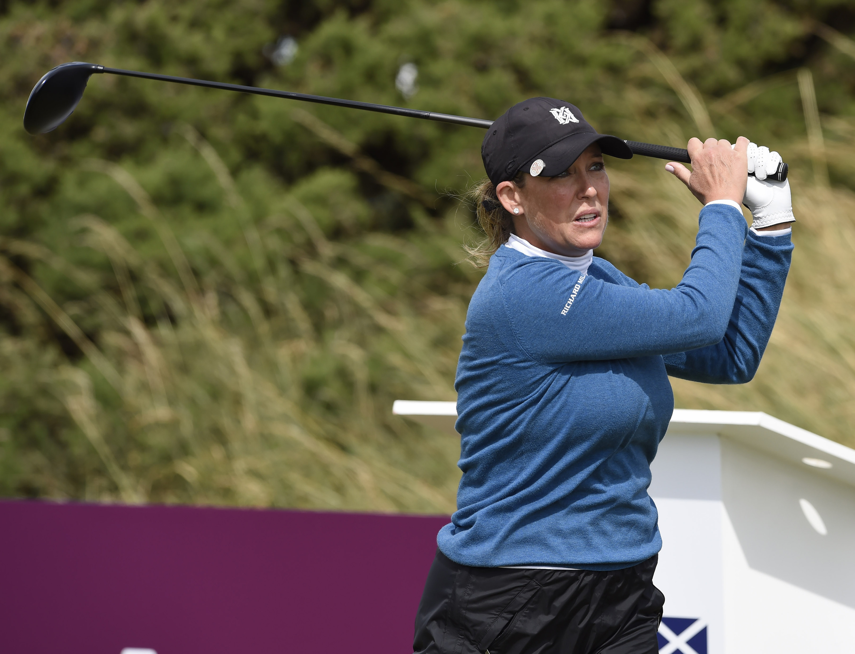 Cristie Kerr on the 10th tee during day two of the Aberdeen Asset Management Ladies Scottish Open at Dundonald Links.