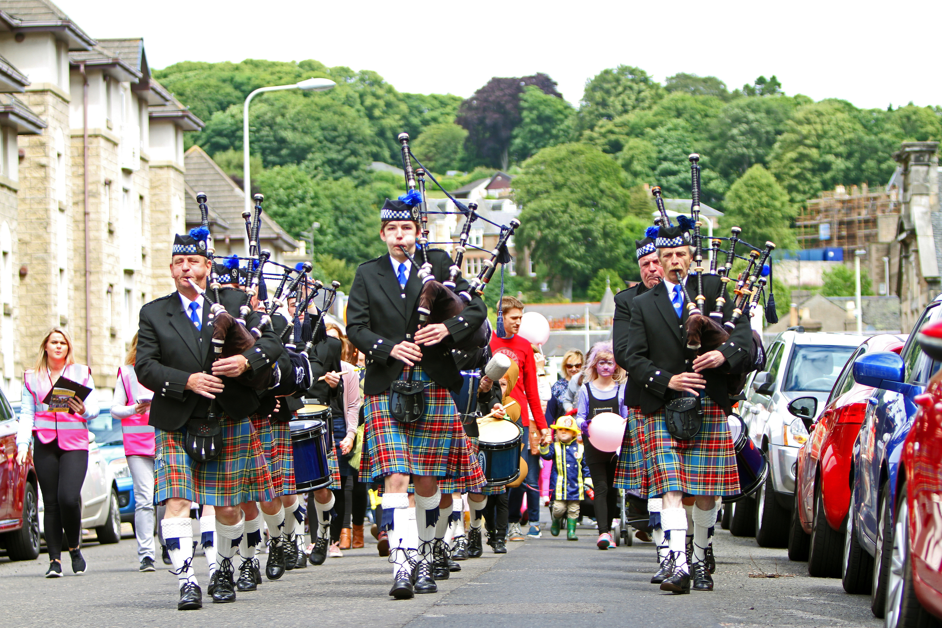 Mains of Fintry Pipe band opened the Gala Week fete,  leading a fancy dress parade and Royal British Legion bikers up to Castle Green.