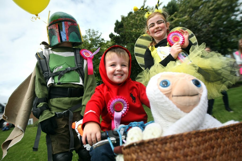 Winners of the fancy dress at Broughty Ferry gala, L/R, Bobba Fett - Erik Levak (Overall winner), Elliot & E.T - Theo Brough (Funniest) and Bee from Bumble Bee Conservation Trust - Lily Alston (Best Homemade).