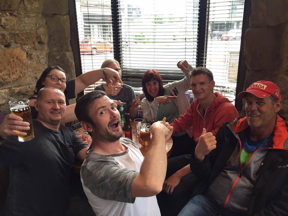 Green Day fan Bart van Aalst enjoys a pint with punters in Glasgow. Credit: Gary MacCluskey.