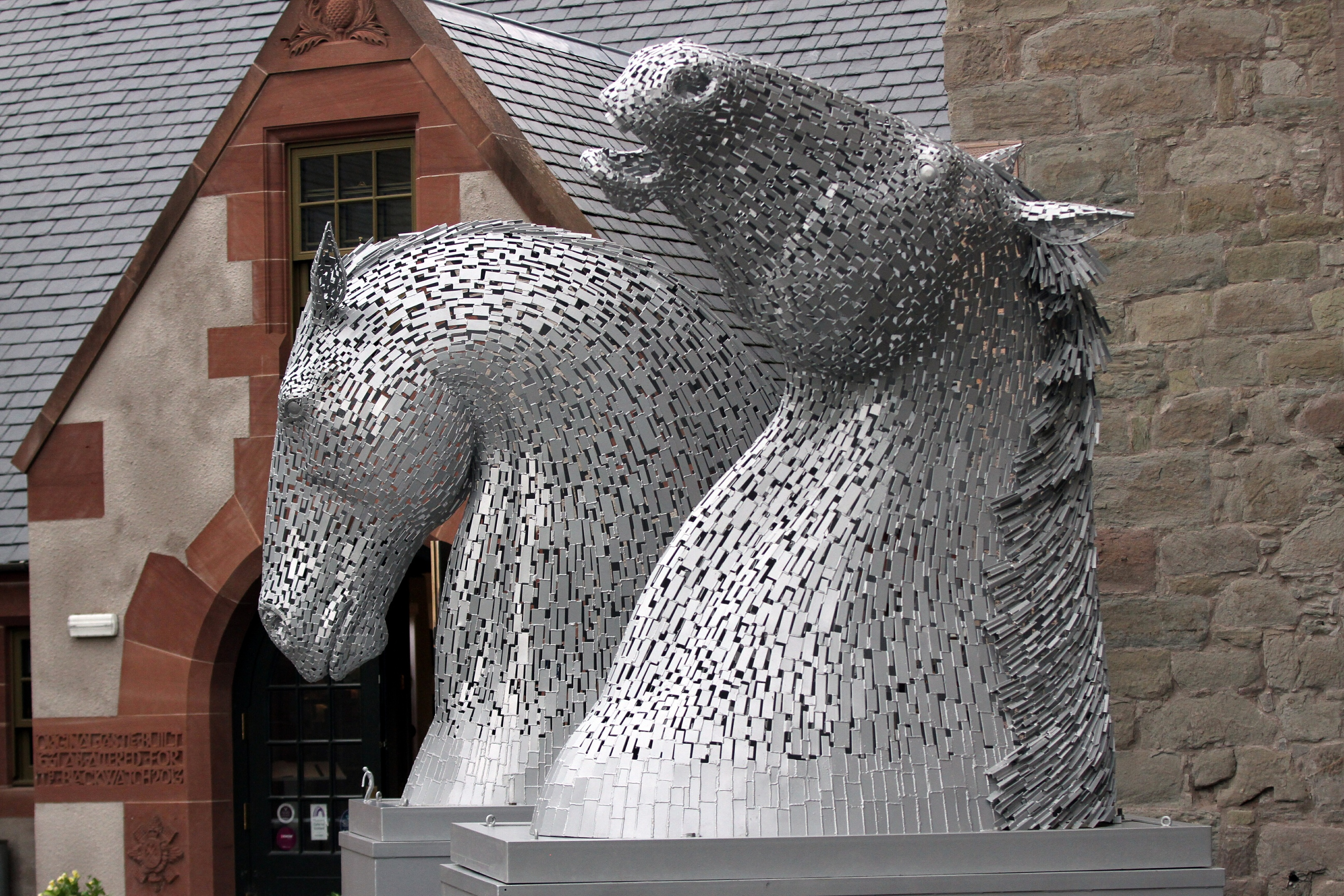 The Kelpies Maquettes on display outside Perth's Black Watch Museum in June