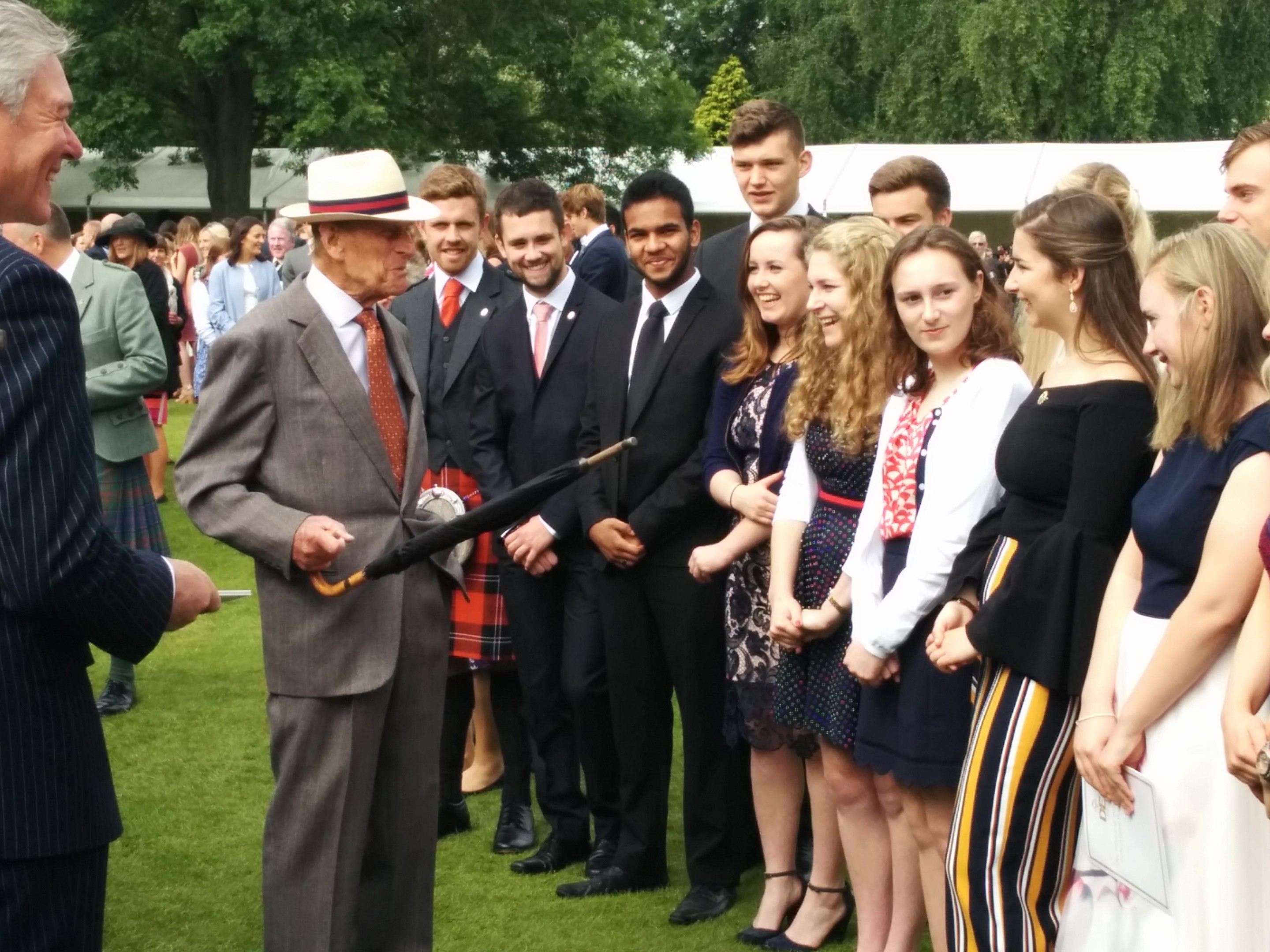The Duke of Edinburgh meets with pupils from Dundee High School.