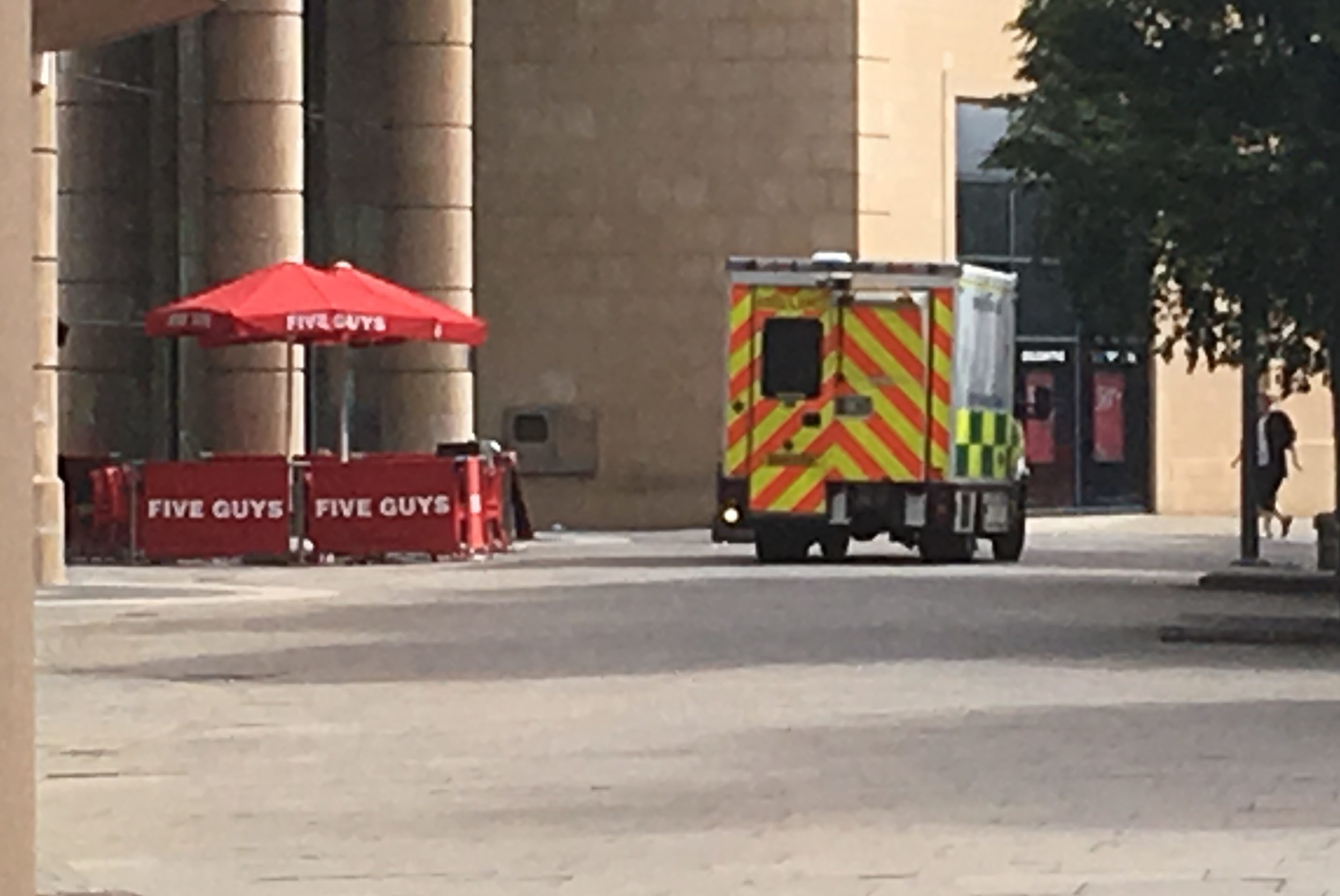 An ambulance outside the Overgate after the dramatic incident.