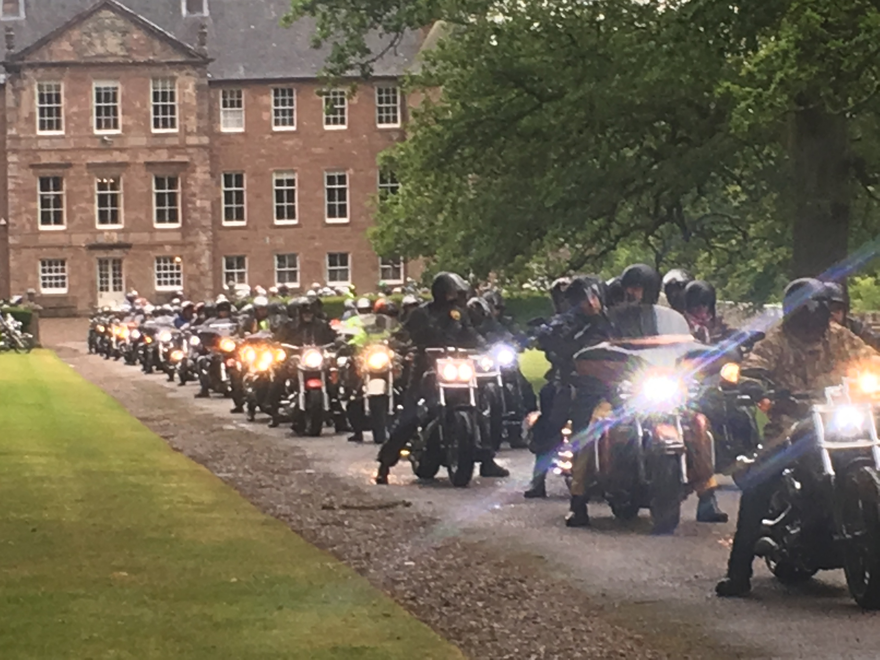 The bikes line up for the ride out from Brechin Castle