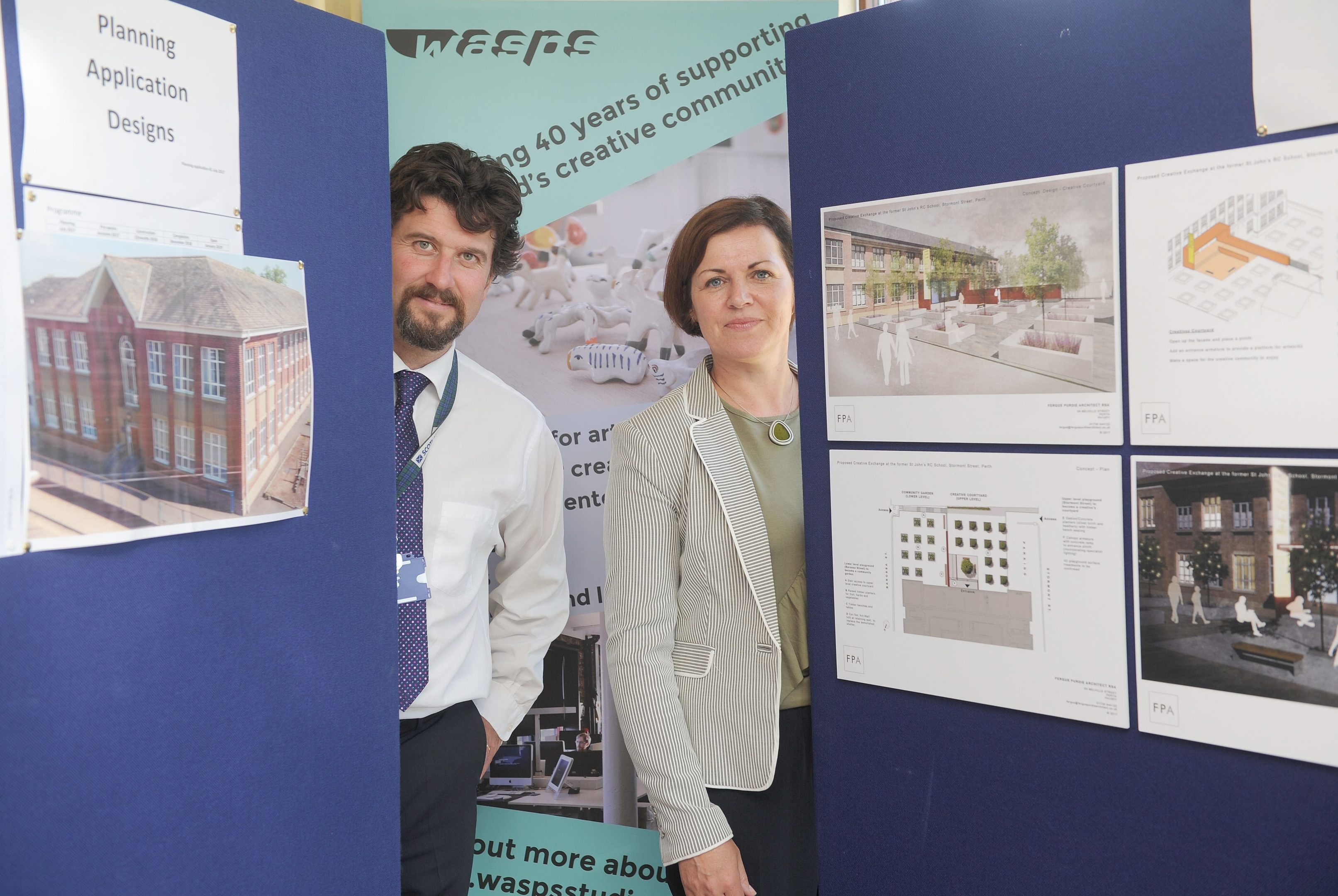 Finlay Kerr (Perth and Kinross Council) and Audrey Carlin (WASPS), at the public exhibition.
