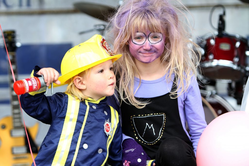 Fireman Sam and Purple Minion, Jack (2) and Molly Birbeck (9), part of the fancy dress competition.