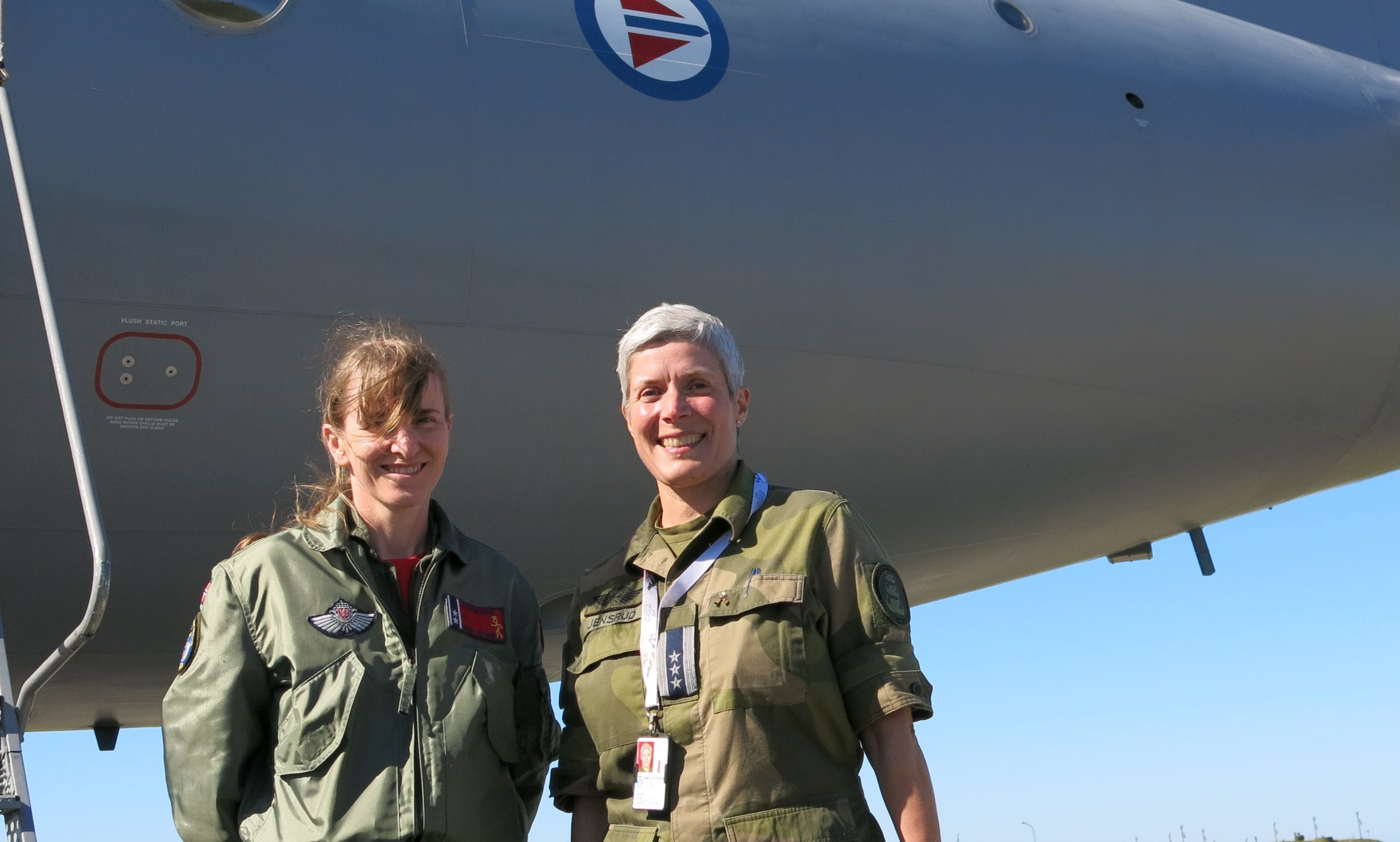 Lt Col Christen Pedersen, commanding officer of 333 Squadron and Col Invgild Jensrud, commanding officer of Andoya Air Base greeted the Fife visitors
