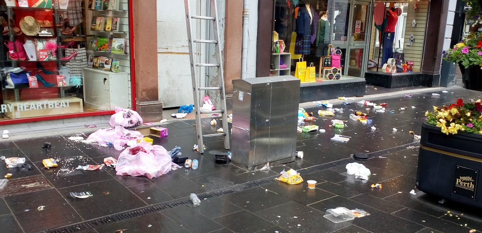 Rubbish strewn across Perth's High Street.