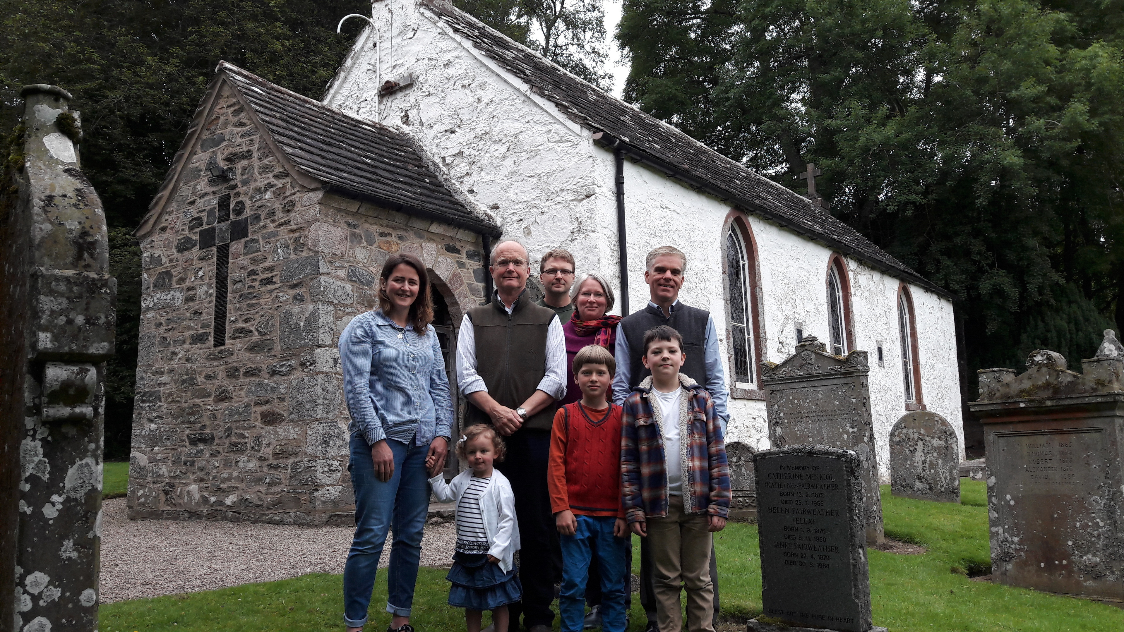Hector Maclean (second from left) with fellow locals at Prosen Church