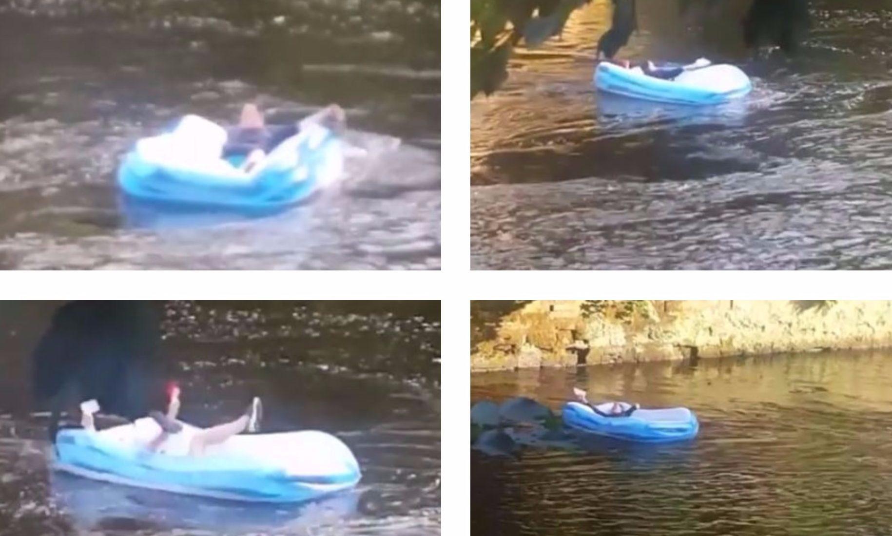 Man enjoys sunshine...floating down Kelvin on inflatable.