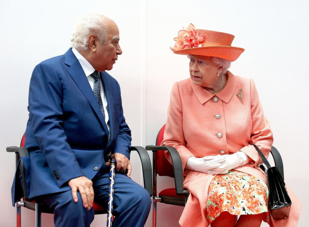 Queen Elizabeth II with Highland Spring owner His Excellency Mohammed Mahdi Altajir during a visit to the new Highland Spring factory building in Blackford.
