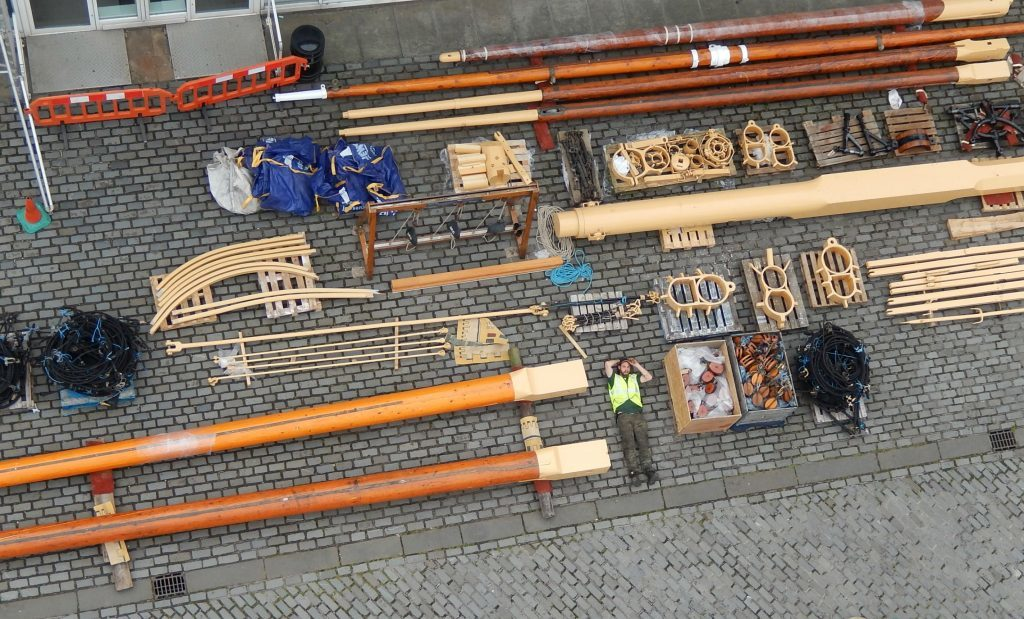 RRS re-rigging as seen from above.