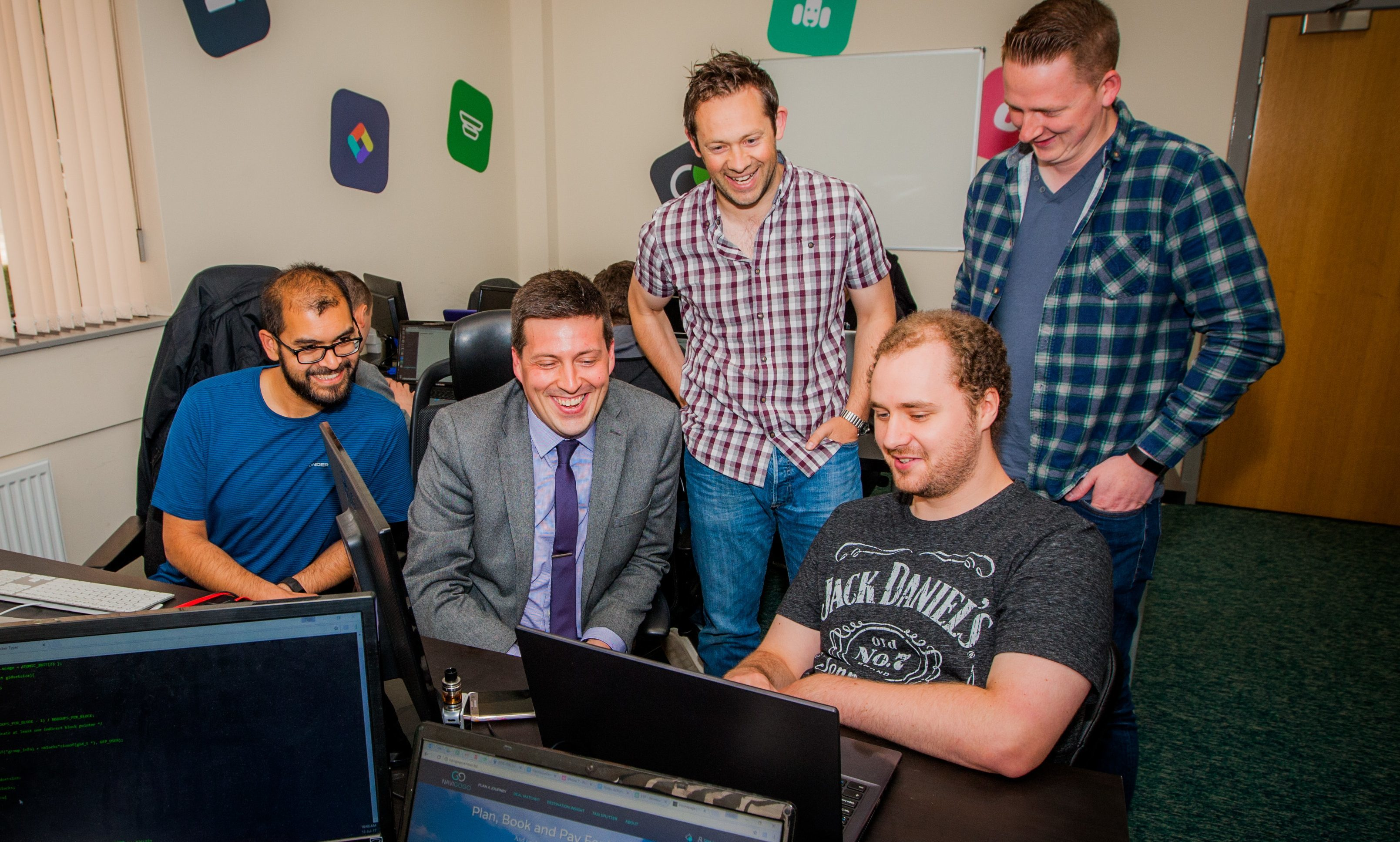 Employability and training minister Jamie Hepburn views work of the Developing the Young Workforce Fife by meeting local employers. Picture shows, left to right, Serene Rajkarnikar, Jamie Hepburn MSP, Chris Reed, Connor Cockburn and Dwain Maxwell of Ember Technology.