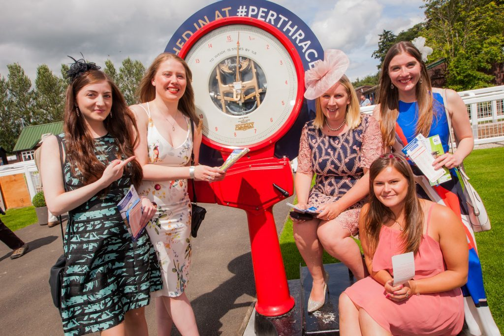 Left to right: Kyra Gaunt, Eilidh Black, Nathalie Agnew, Armelle Murray (at front) and Fiona Reyner. Perth Racecourse.