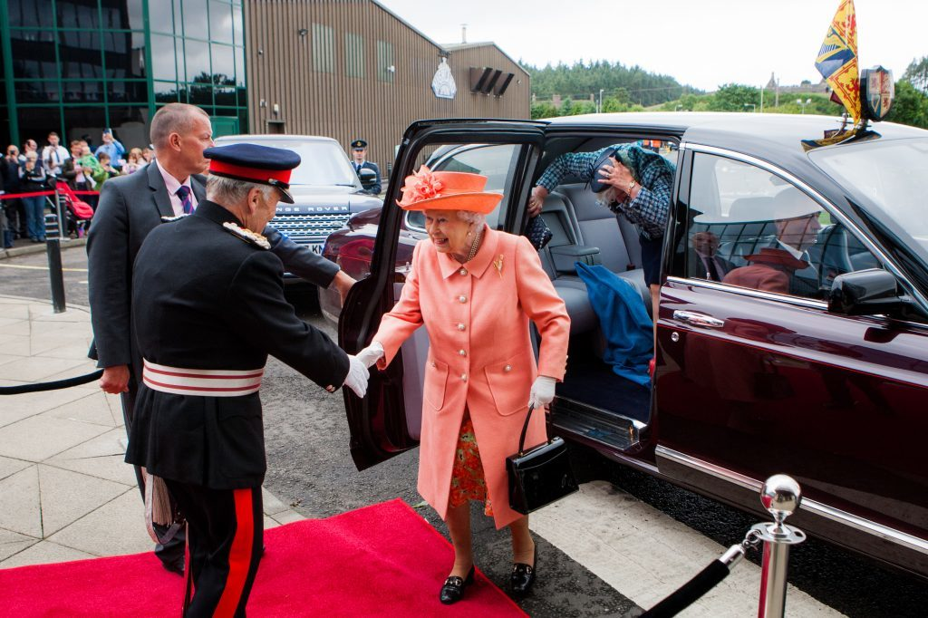 The Queen is greeting by The Lord Lieutenant of Perth and Kinross, Brigadier Mel Jameson.