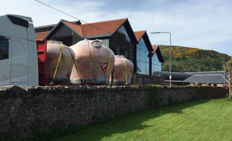 Stills arrive at Lindores Distillery.